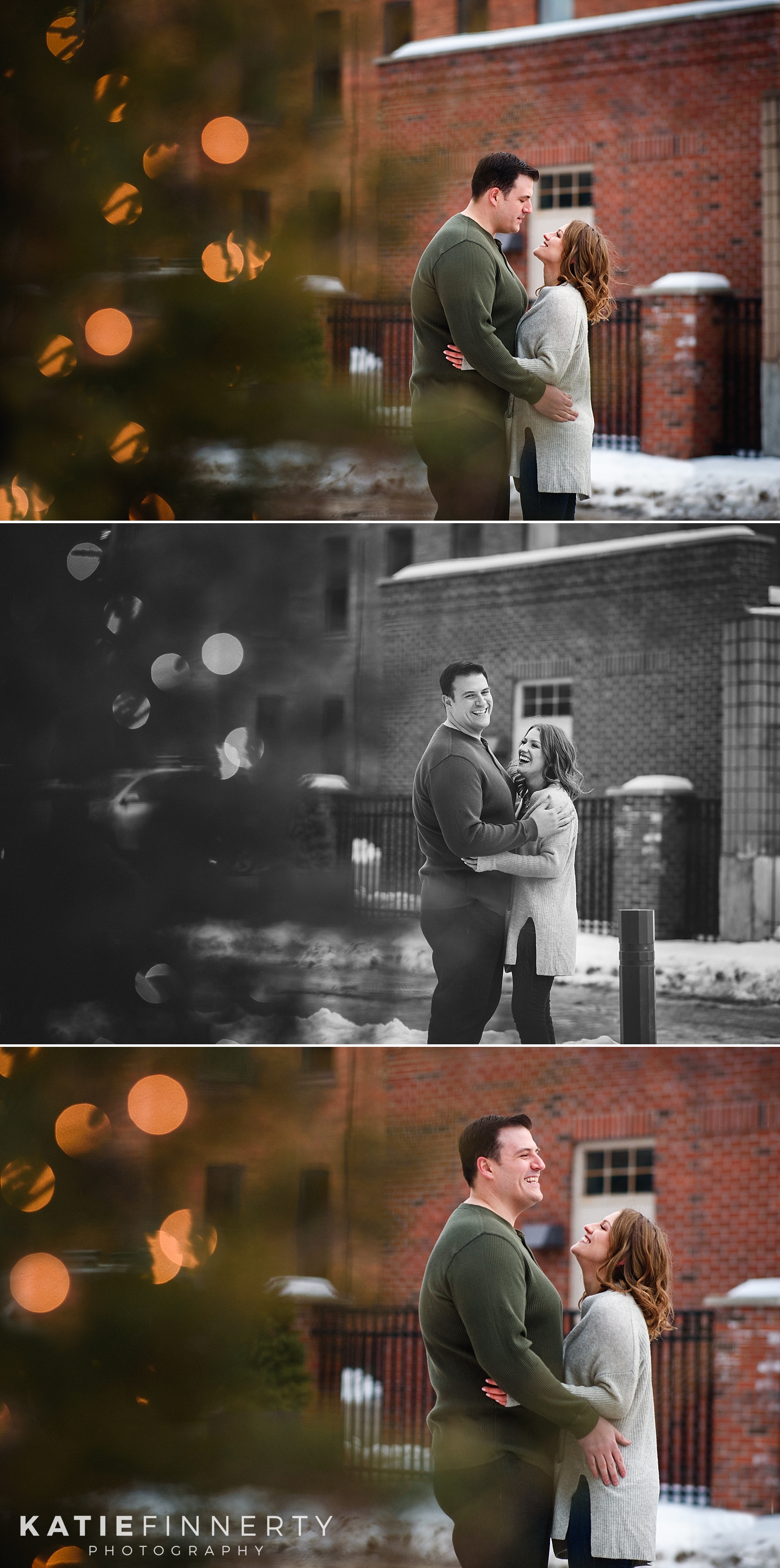 High Falls Rochester Winter Engagement Photography