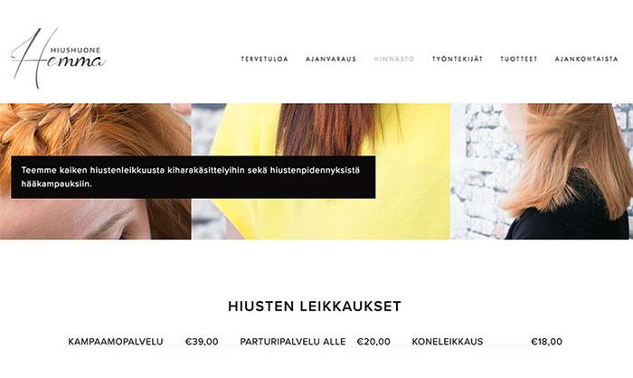 Hiushuone Hemma -kampaamon kauniit ja simppelit nettisivut