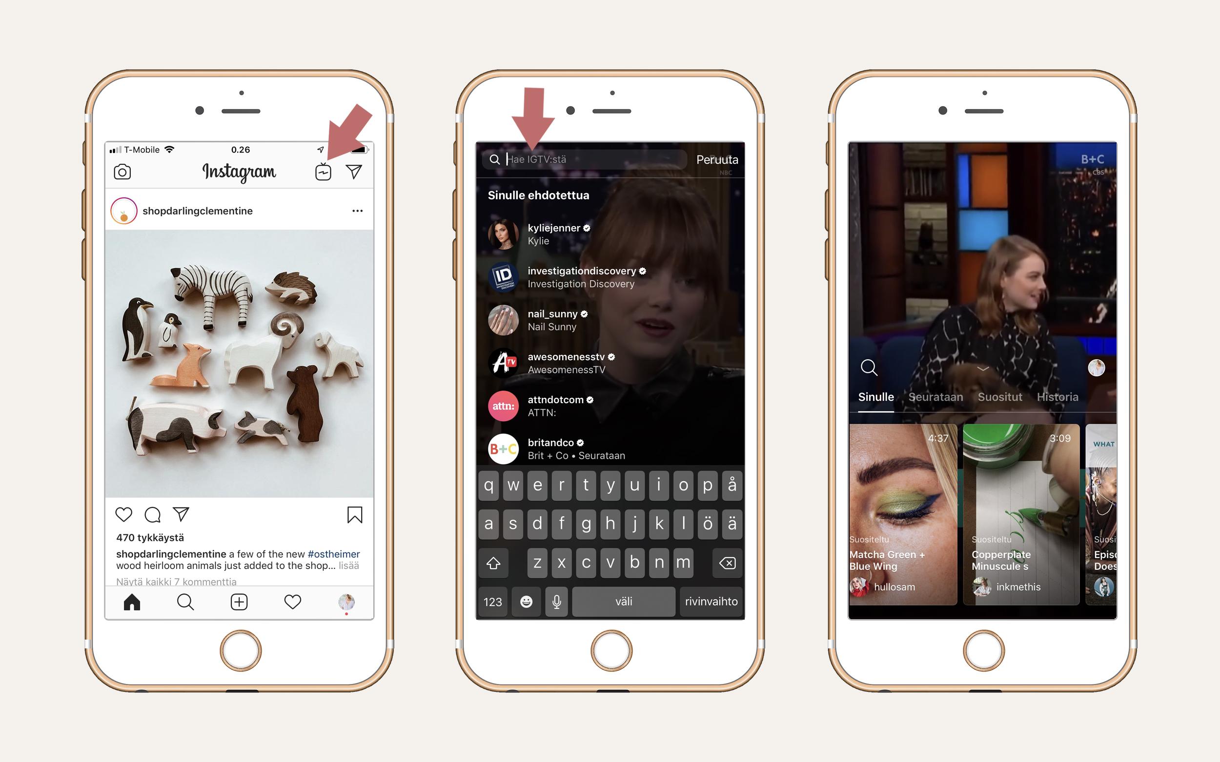 Perus kuvavirta näkymässä eli Instagram feedissä Instagram TV:seen pääsee vasemman puolimmaisen kuvan nuolen osoittamasta kohdasta. IGTV automaattisesti antaa sinulle ehdotuksia pitämäsi sisällön perusteella ('Sinulle'), näyttää niiden tilien IGTV videoita, joita seuraat normaalin Instagramin puolella ('Seurataan'), sekä listaa kanavan sisällä suosittuja sisältöjä ('Suositut'). IGTV:n puolella voit myös itse hakea sisältöjä haulla.