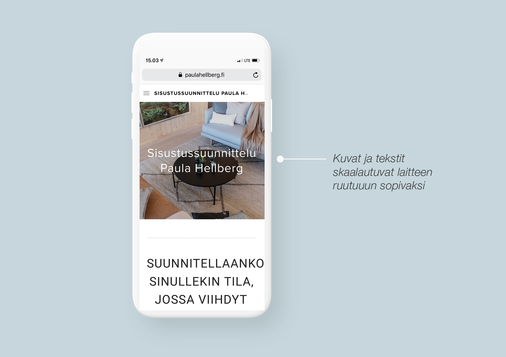 Paula Hellbergin nettisivujen mobiilinäkymä