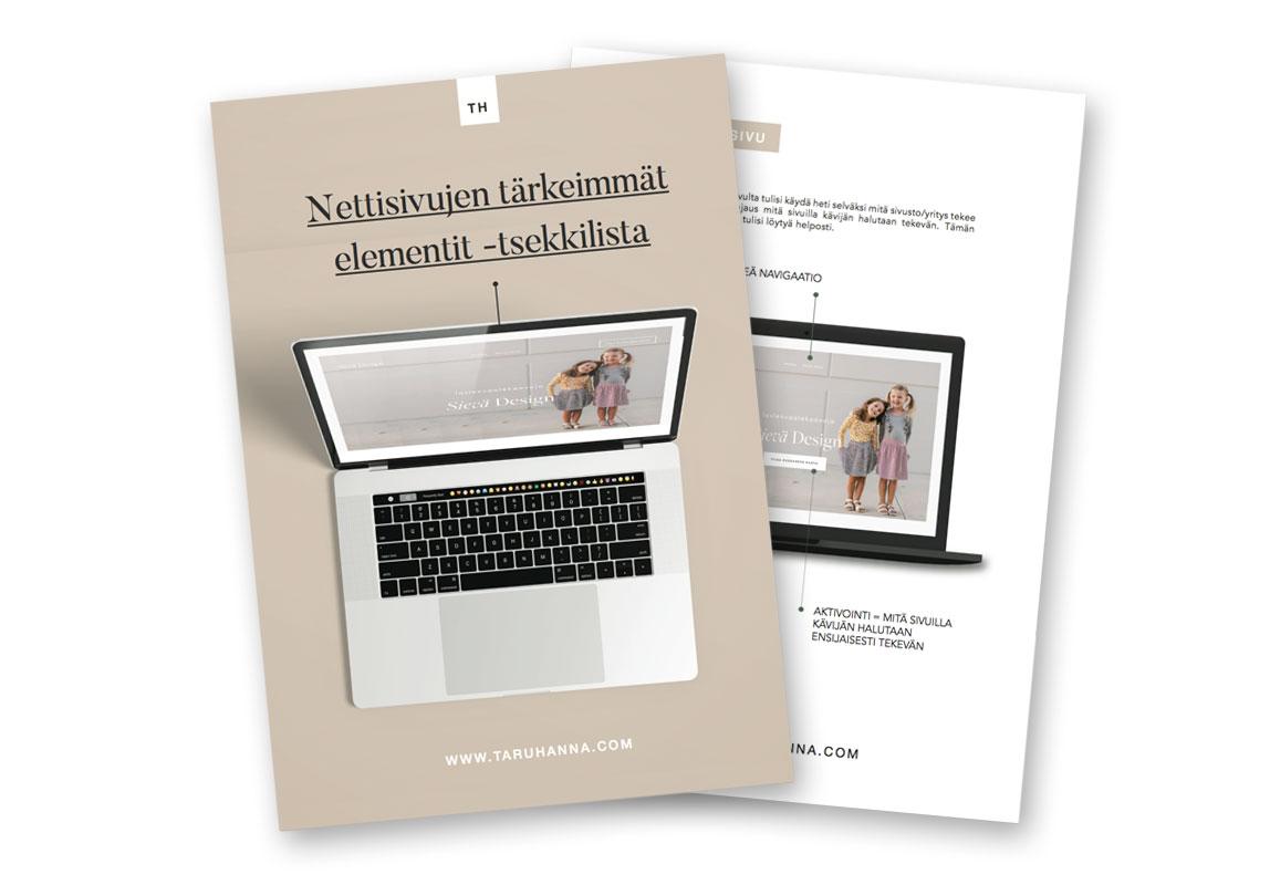 Nettisivujen tärkeimmät elementit -tsekkilistan kansi