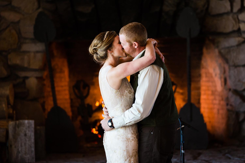 Yellowstone Wedding Becky Brockie Photography Ceremony Kiss