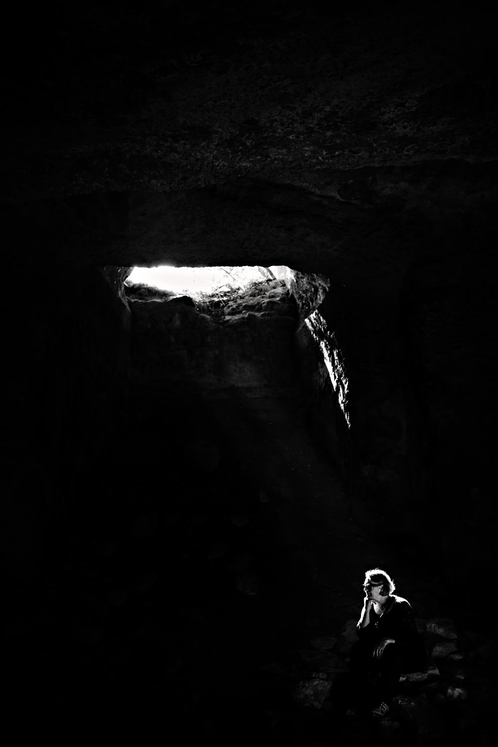 Mom in an underground aqueduct in ancient Eleutherna