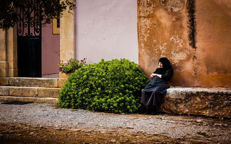 Nun at Arkadi Monastery