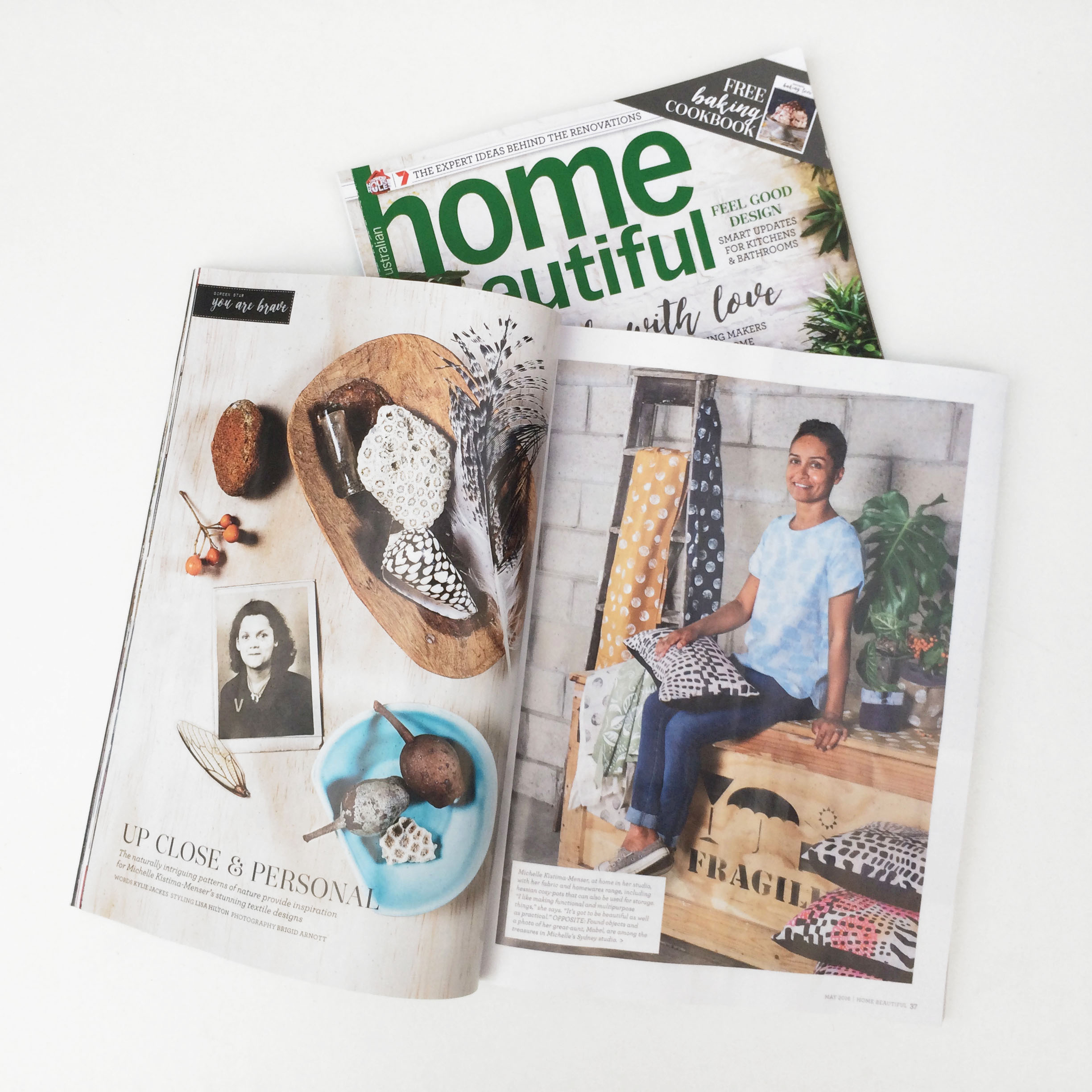 YOU ARE BRAVE Hand Printed Textiles + Handmade Decor in Home Beautiful Magazine May2016