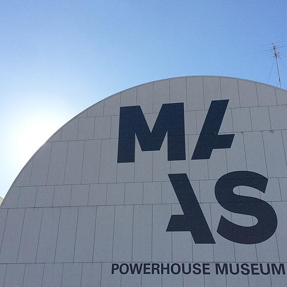 Powerhouse Museum facade, YOU ARE BRAVE Textiles + Makerspace & Co exhibit for Mini Maker Faire 2016