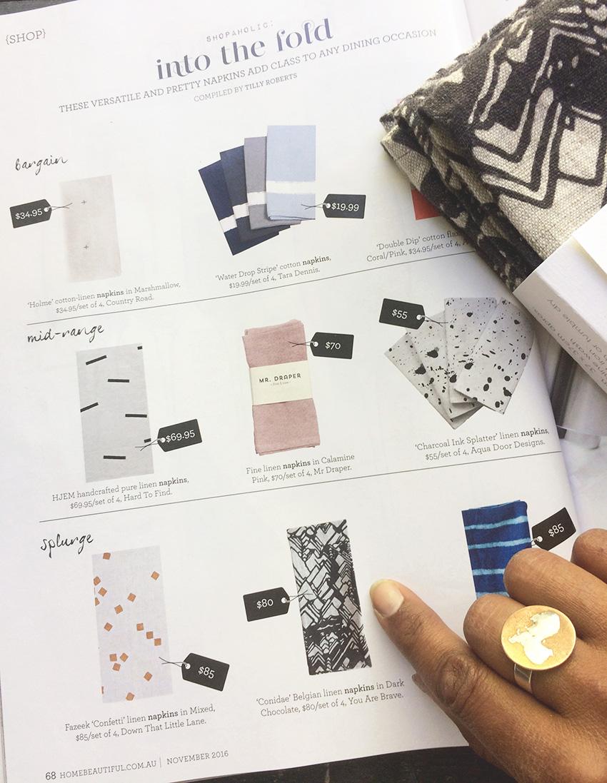 Home Beautiful Magazine Nov '16 Features YOU ARE BRAVE Textiles Conidae Print Napkin