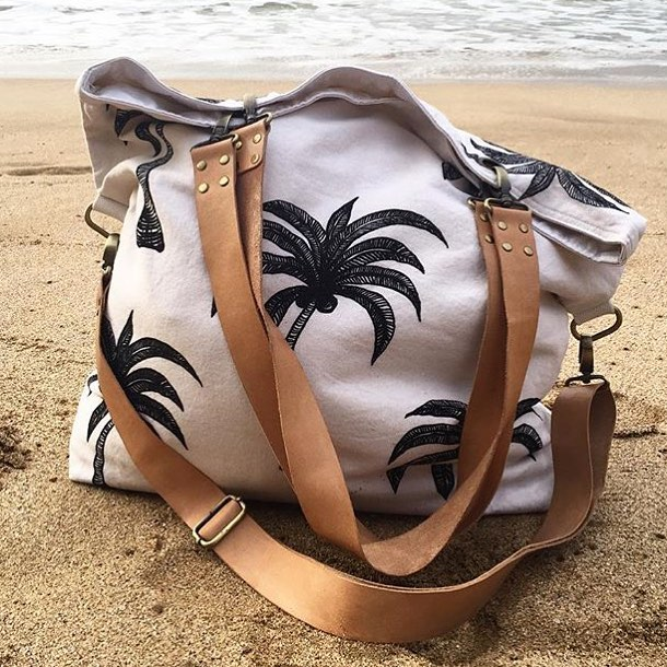 Asha Kidd Mr Haddy Palm Tree Beach Bag on the sand