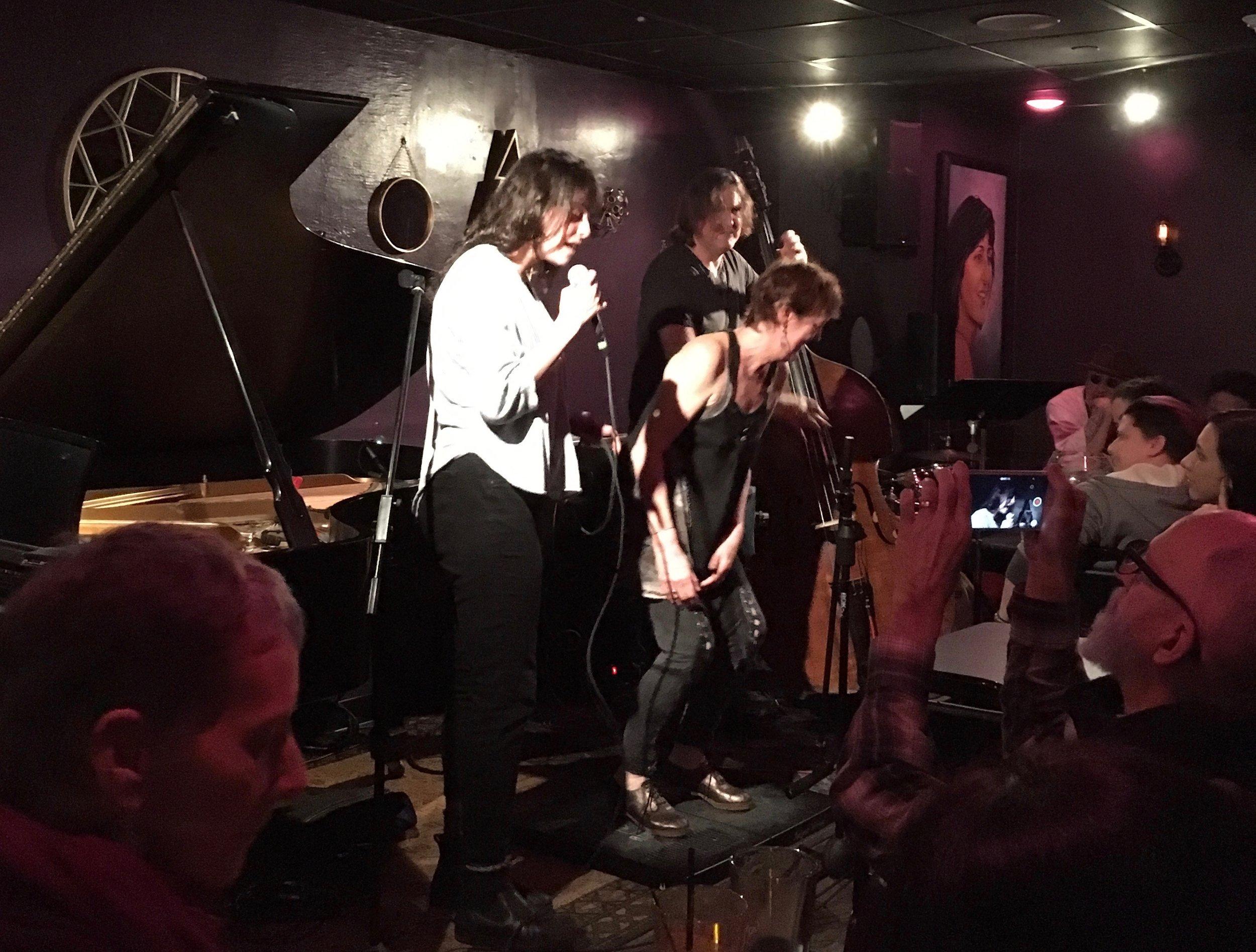 Heather Cornell, Jim Donica, and Jenny Herzog at Maureen's Jazz Cellar in Nyack, NY.