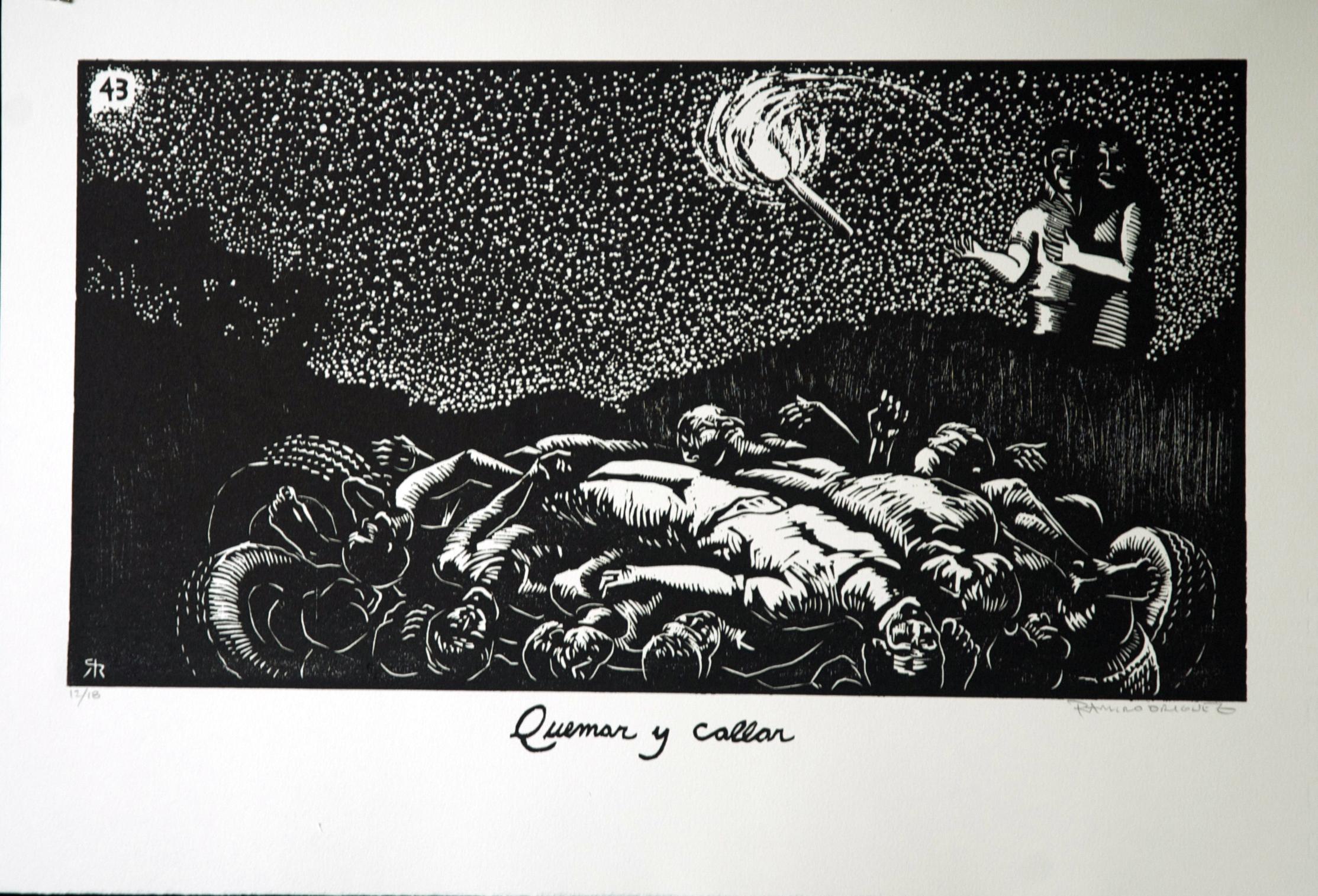 """""""Quemar y Callar"""" (trans. """"Burn, and Silence them"""") woodcut by Ramiro Rodriguez"""