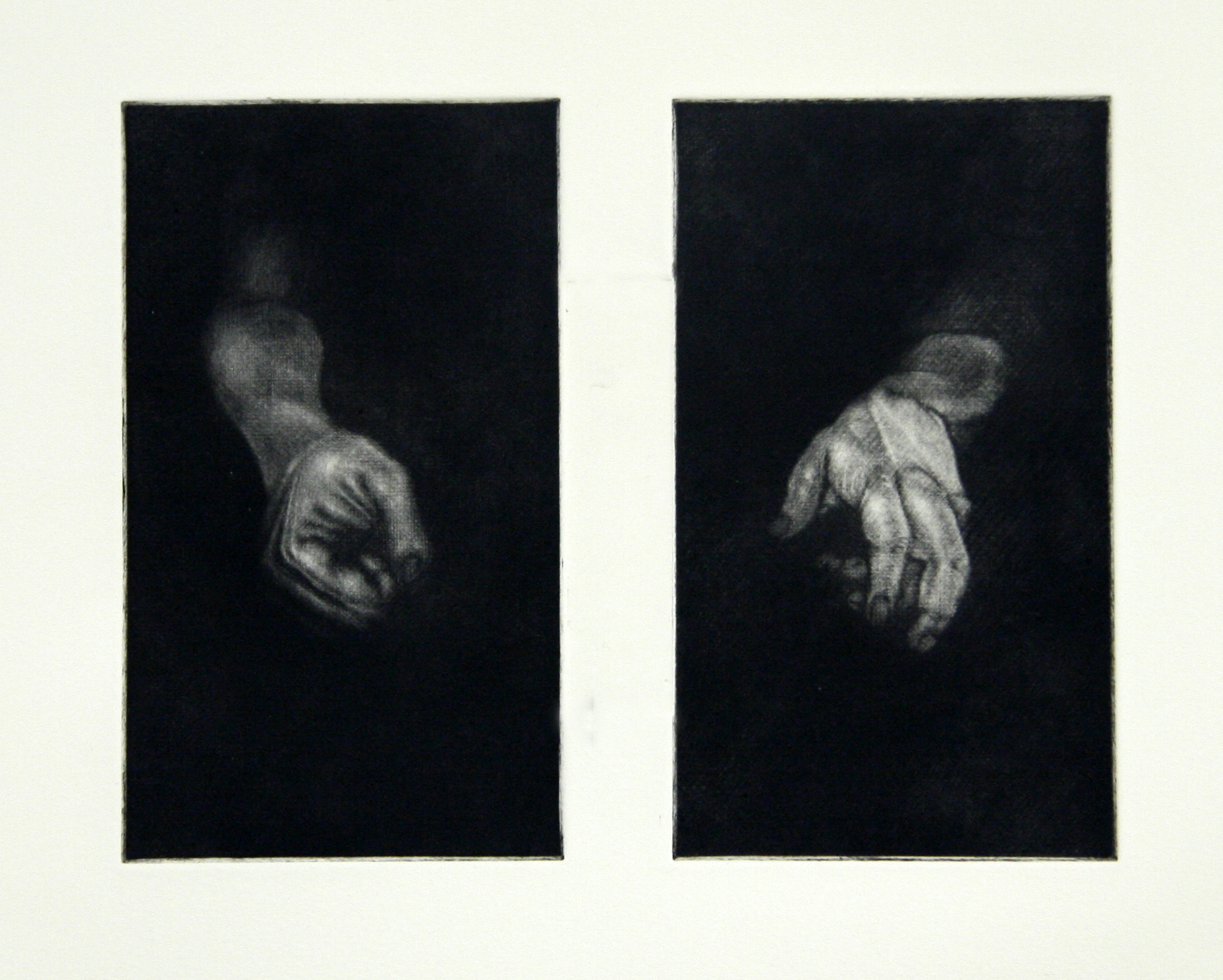 Untitled (Hands)  from the   Black Works series  , mezzotint 2015