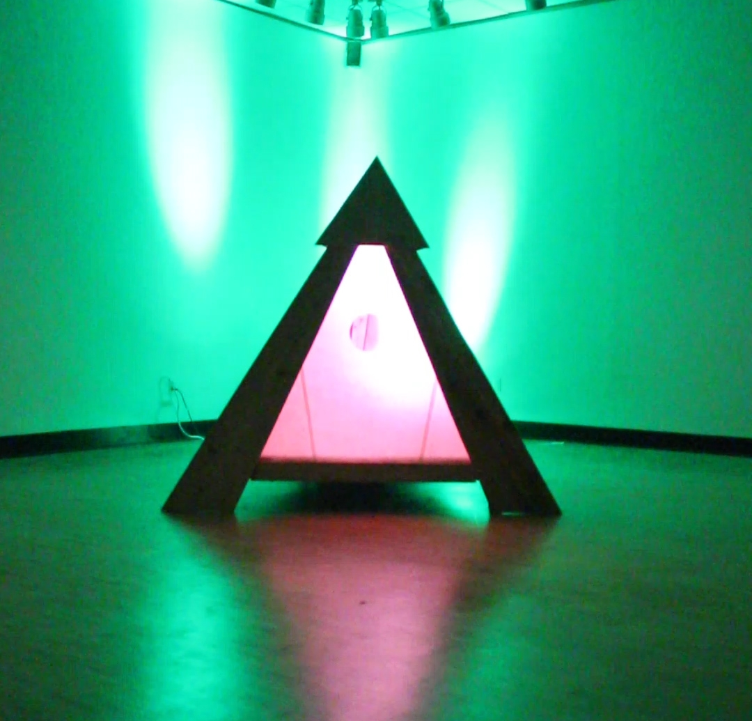 Anchorhold, mixed media: cedar, plywood, mulberry paper, led light cycle