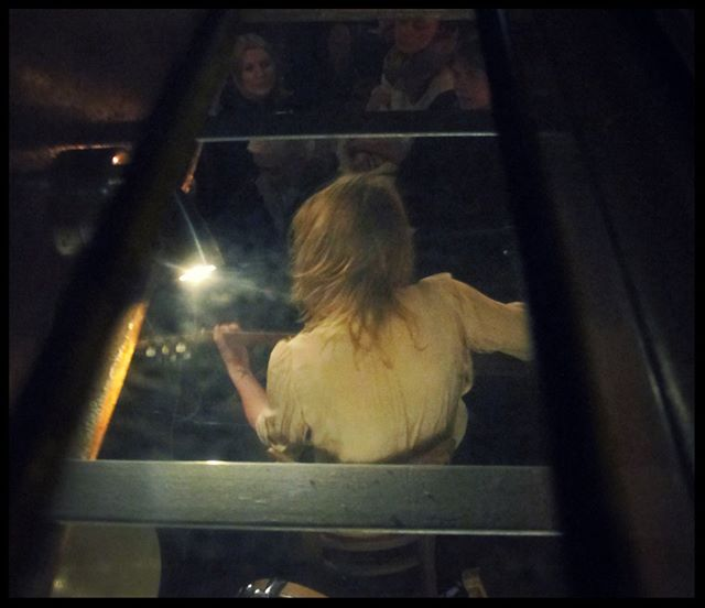 Performing at Feral album launch. Photography by Cathrine de Boulloche through the roof-hatch of Drie #tjalk #music #swedishfolk #river