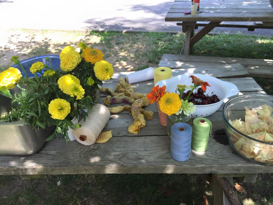 Prep table for natural dyeing with fresh flowers, cherries, and onion skins.