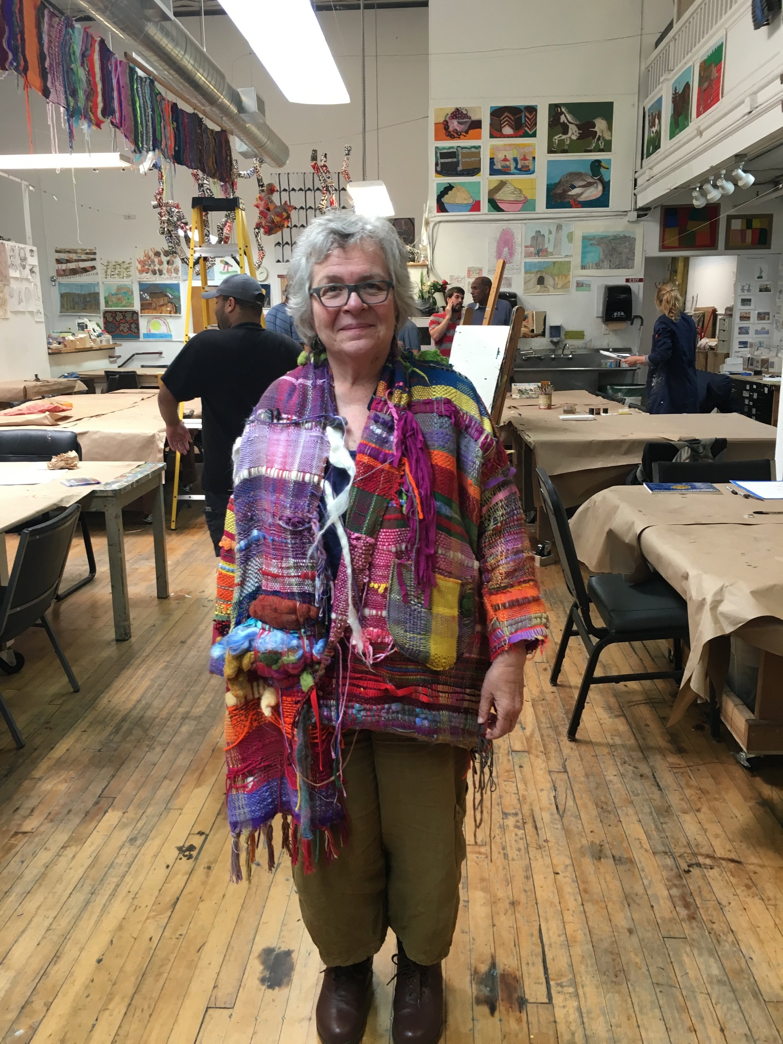 Executive Director Amy Taub wearing the fabulous SAORI woven jacket communally made by the artists and staff at Creativity Explored!!