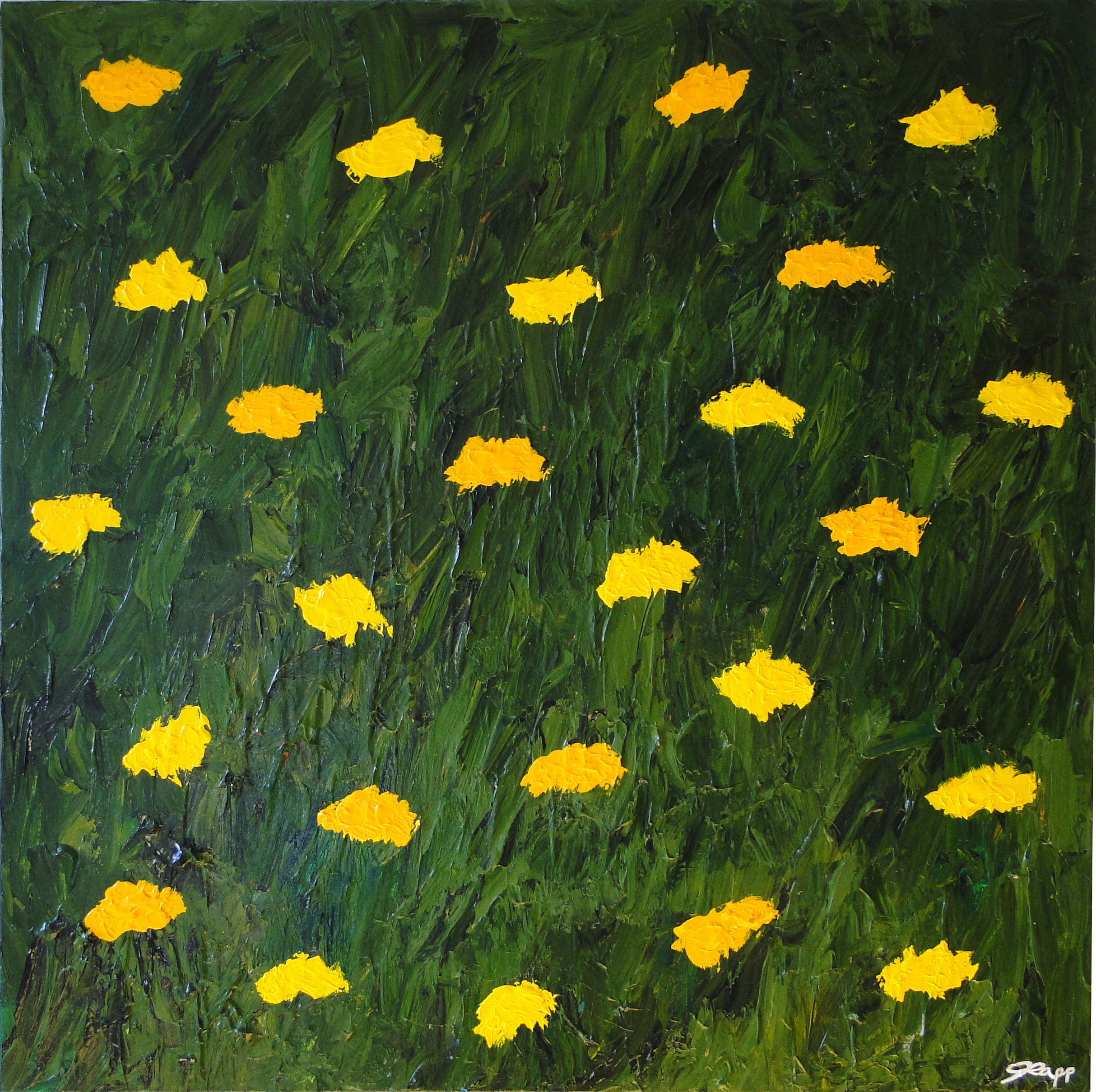 Yellow Flowers Green Field