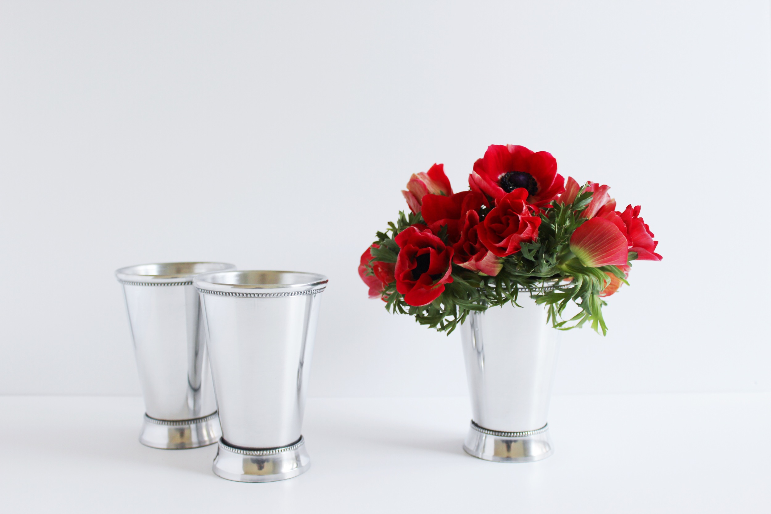 Derby Day Flowers - Serve up Kentucky Derby Charm with Red Flowers in Mint Julep Cups | Sundays and Somedays