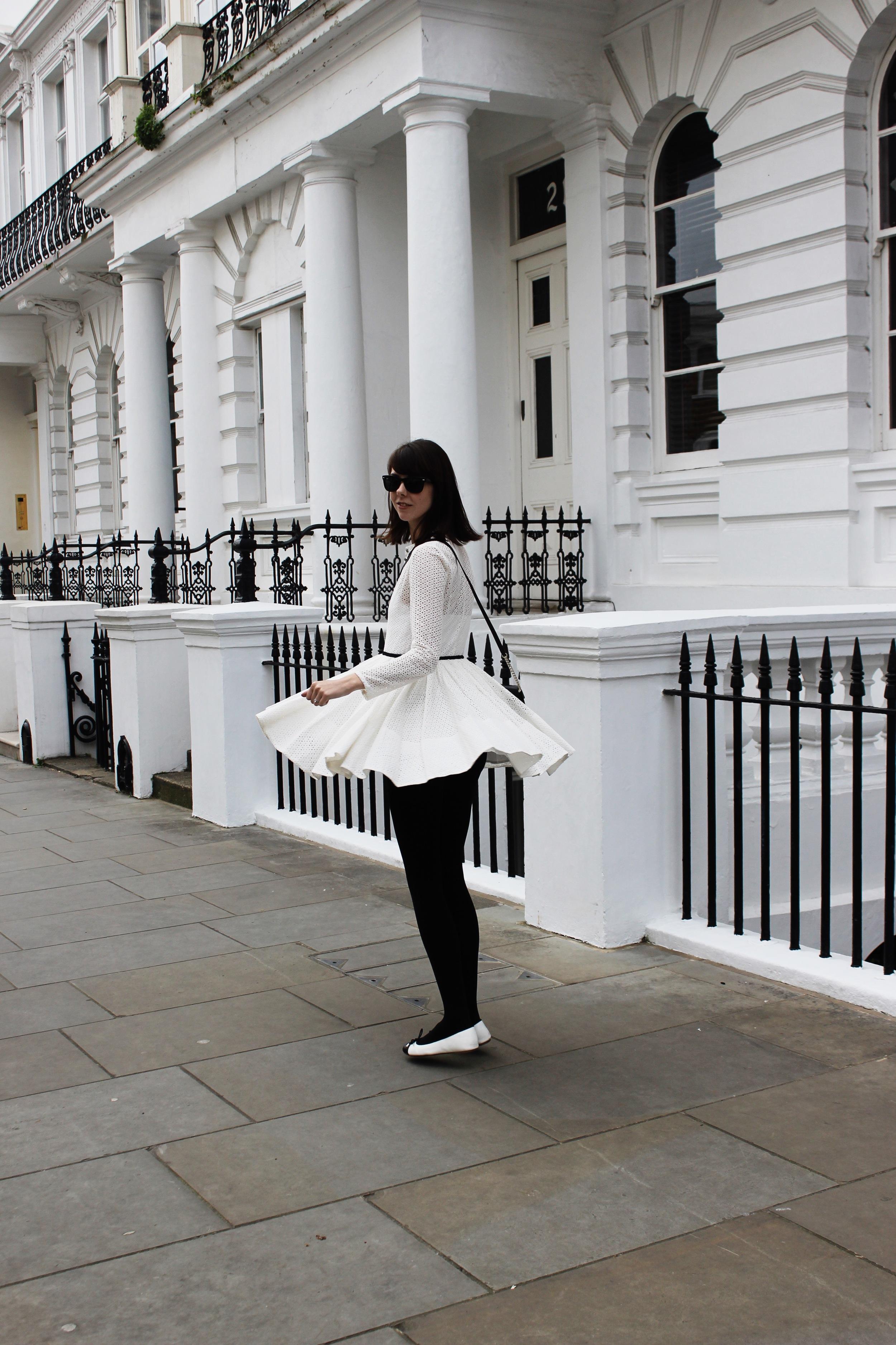 Lace in London - Maje Dress, Kate Spade Crossbody | Sundays and Somedays