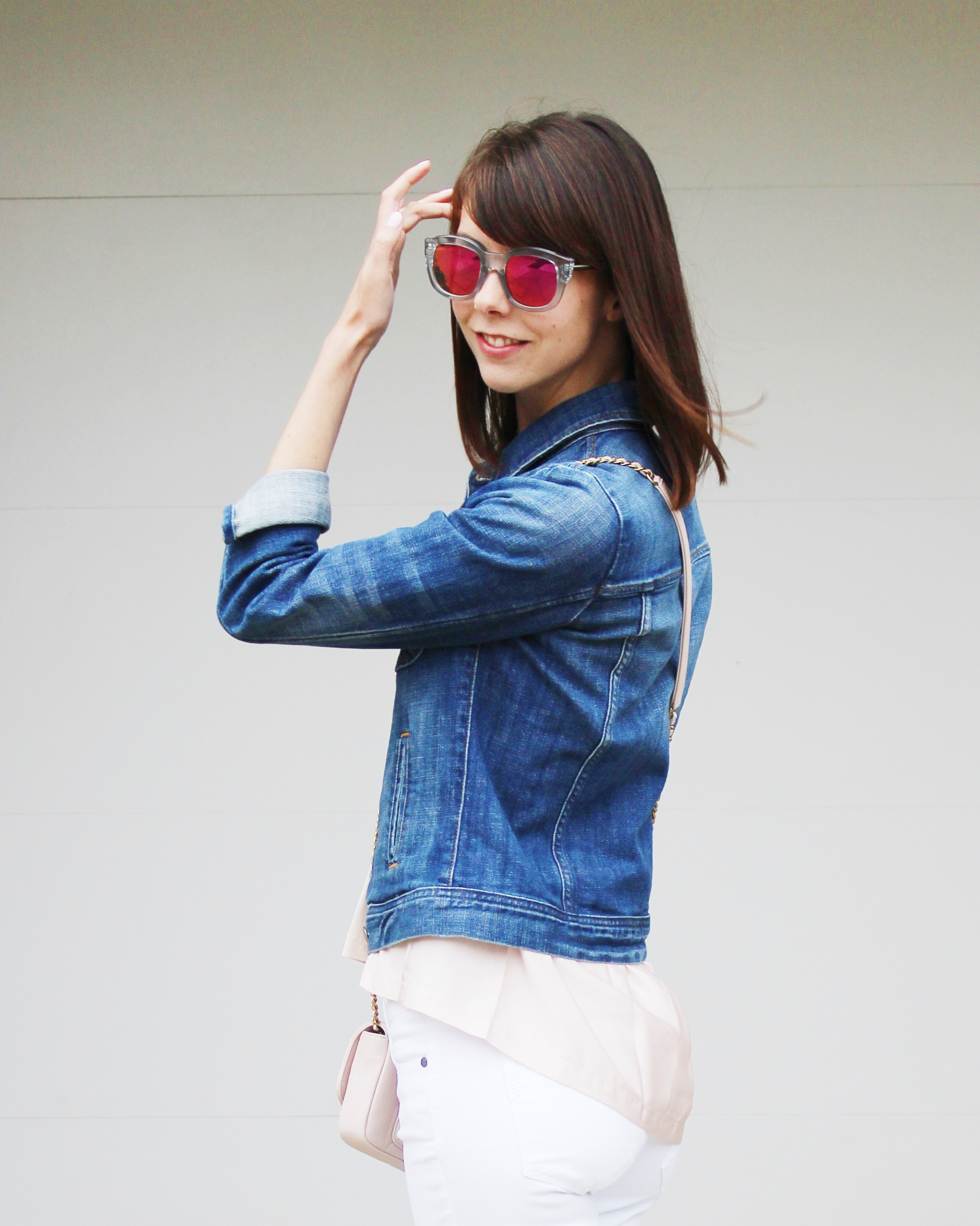 A Touch of Blush - Denim Jacket | Sundays and Somedays