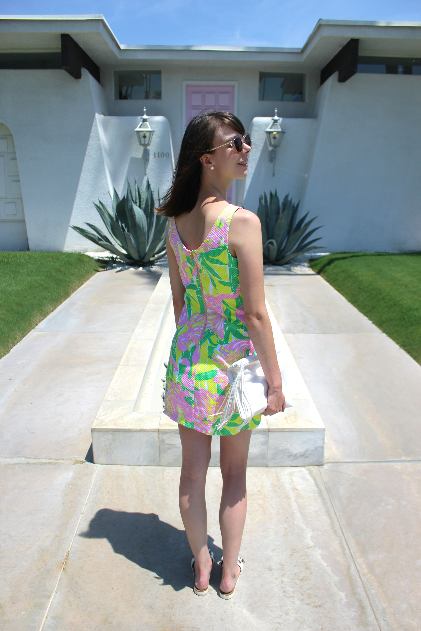 Flamingo print Lilly Pulitzer for Target shift dress in front of the pink door house in Palm Springs   Sundays and Somedays
