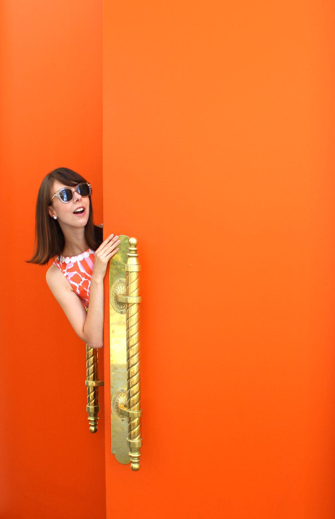 Orange you glad? Wearing the loveliest Lilly for Target giraffe print shift dress.