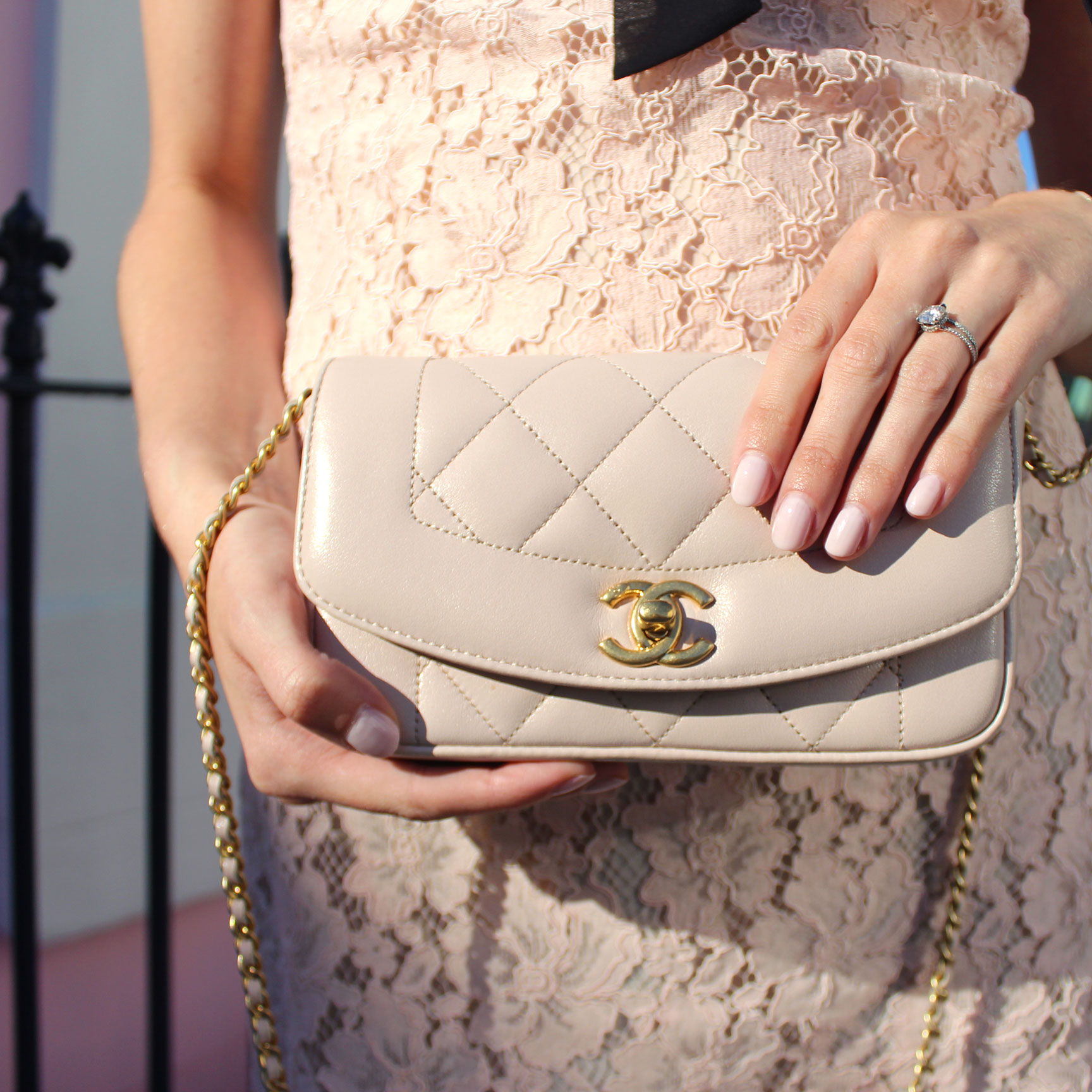 Blush pink quilted Chanel bag and Essie nail polish in Ballet Slippers