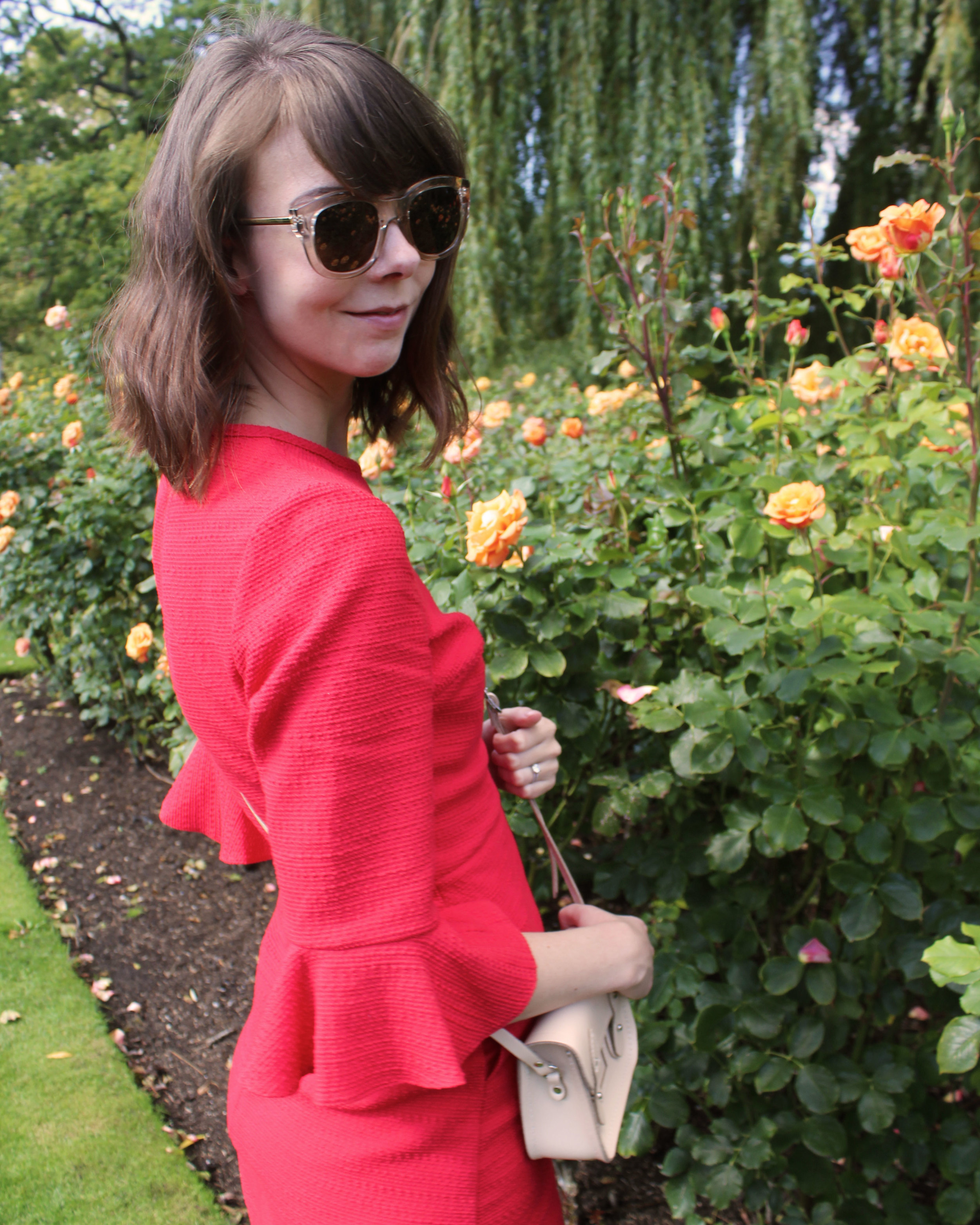 Red dress from Topshop in London's Regent's Park.