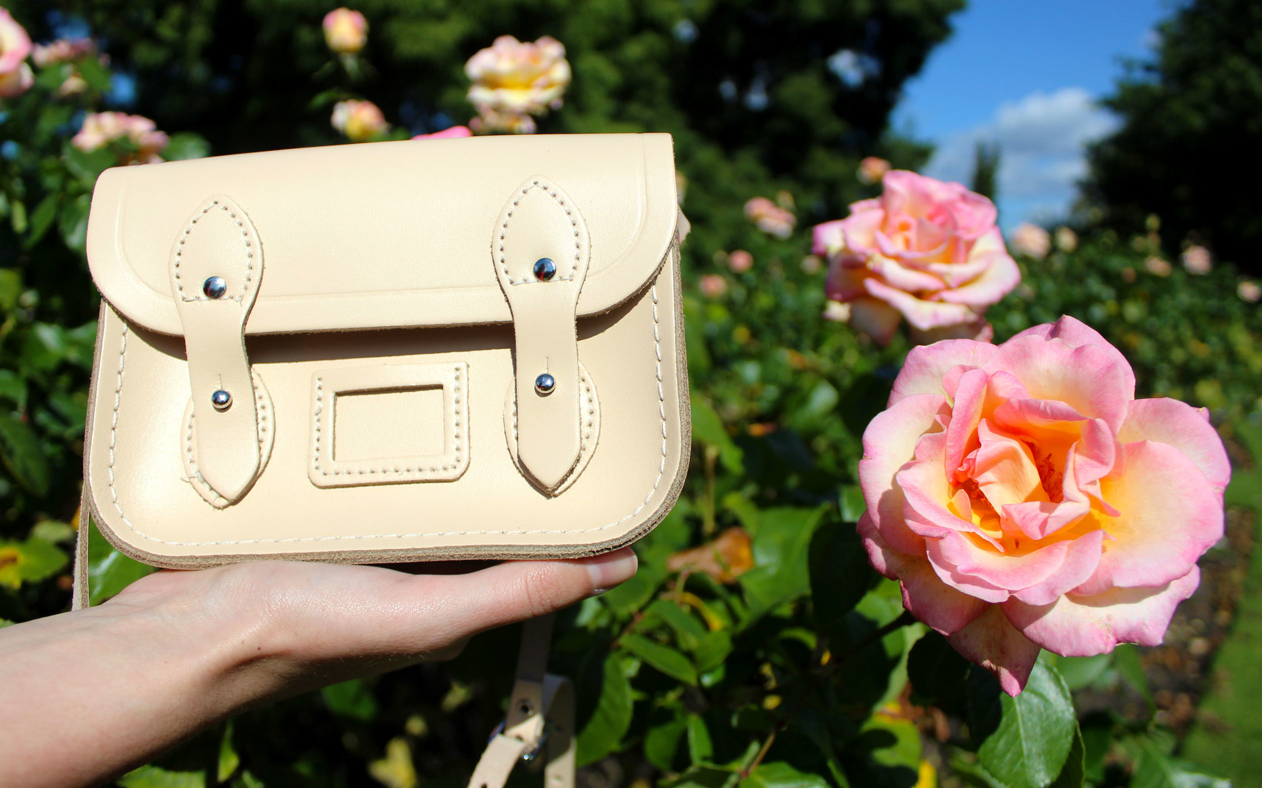A mini bag from The Cambridge Satchel Company and a pretty pink rose.