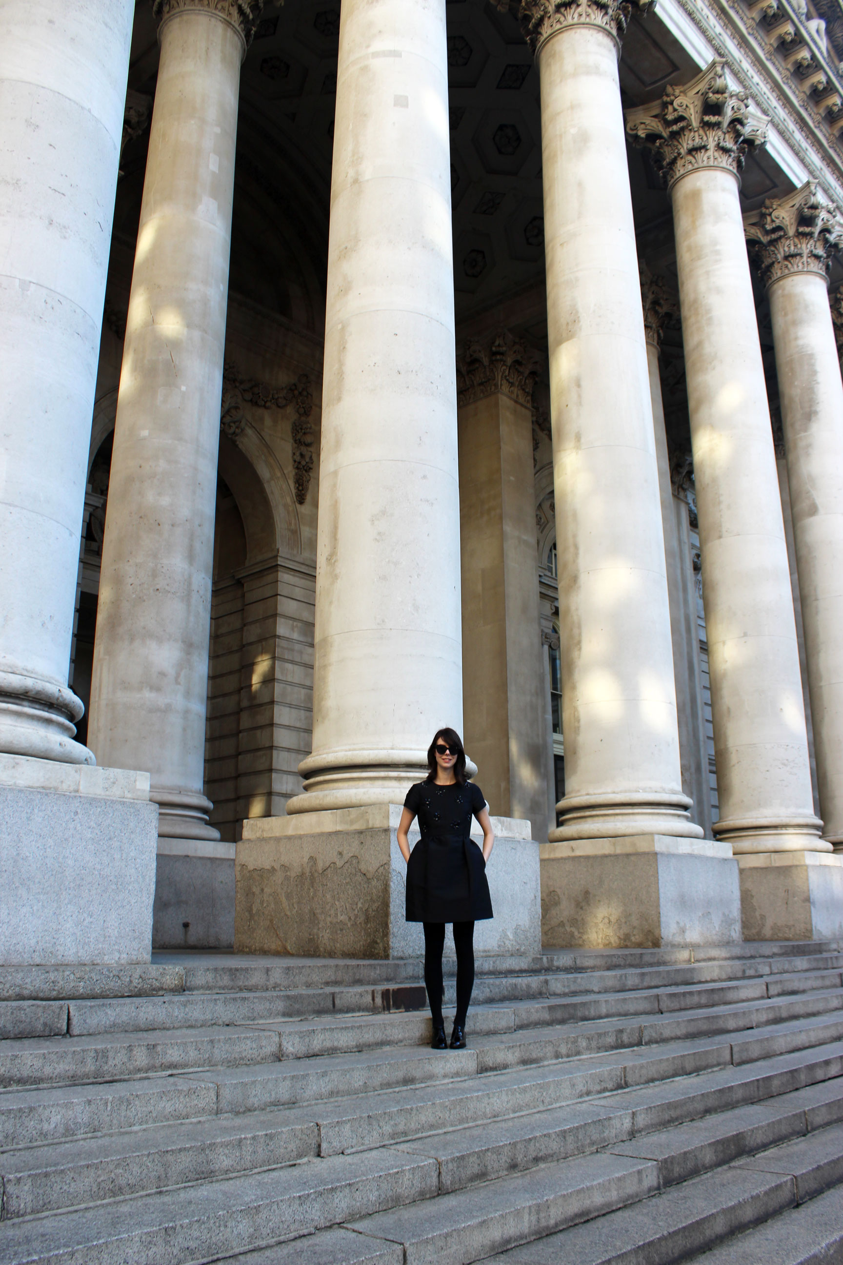 Strolling through London's Bank neighborhood in my favorite little black dress!