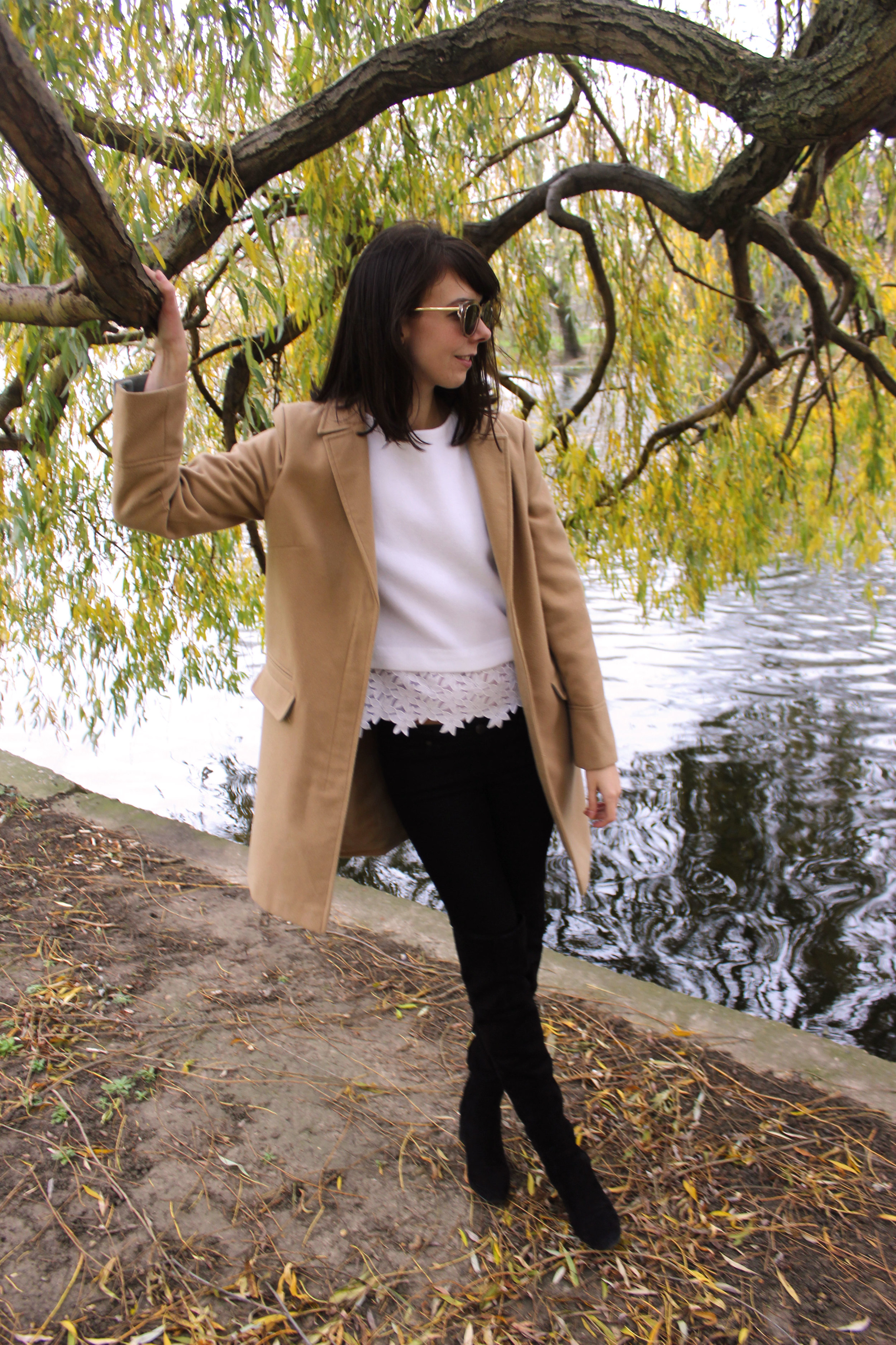 Wandering beneath the willows in Regent's Park London wearing a Topshop camel coat and suede over the knee boots.