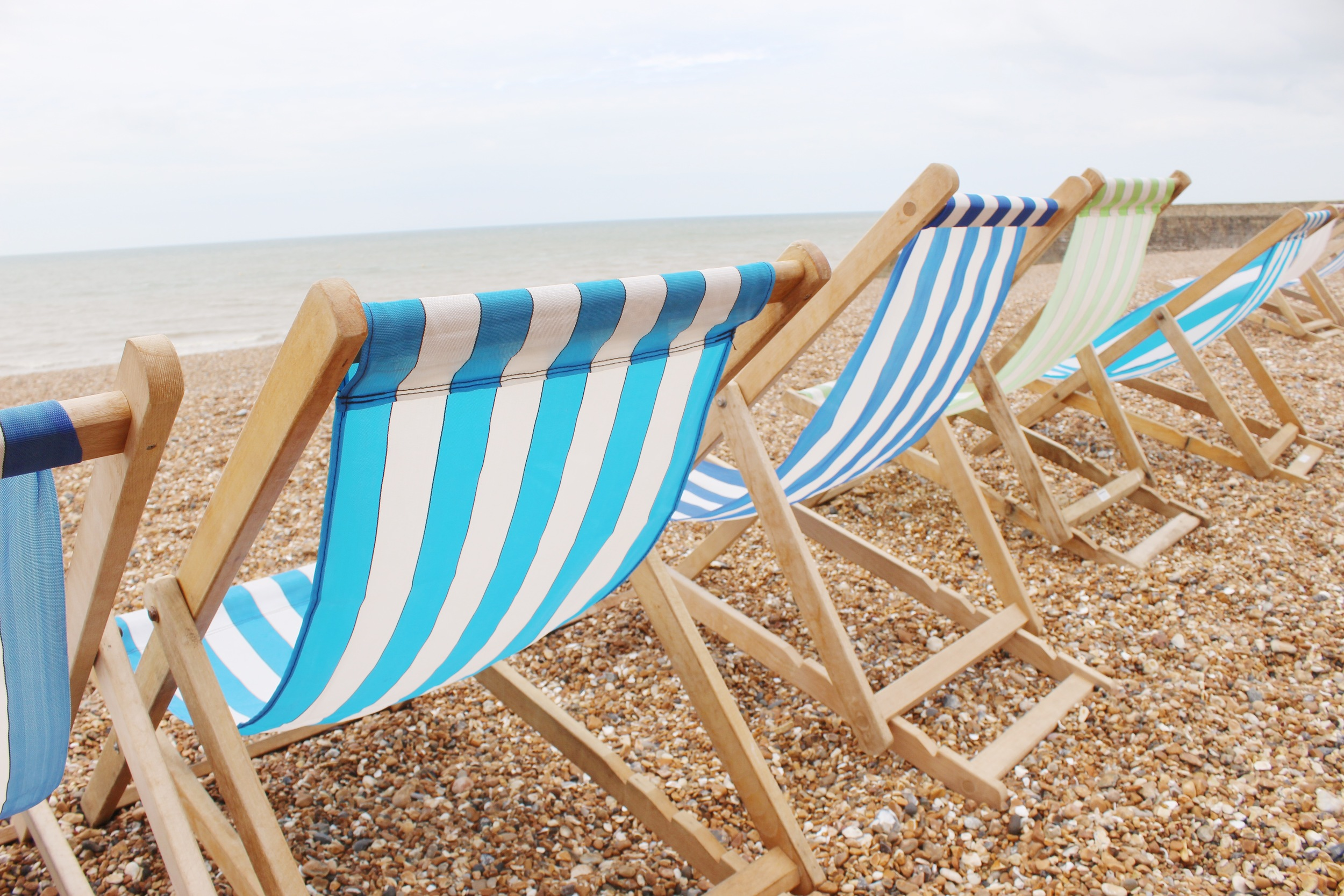 Striped beach chairs in Brighton, England