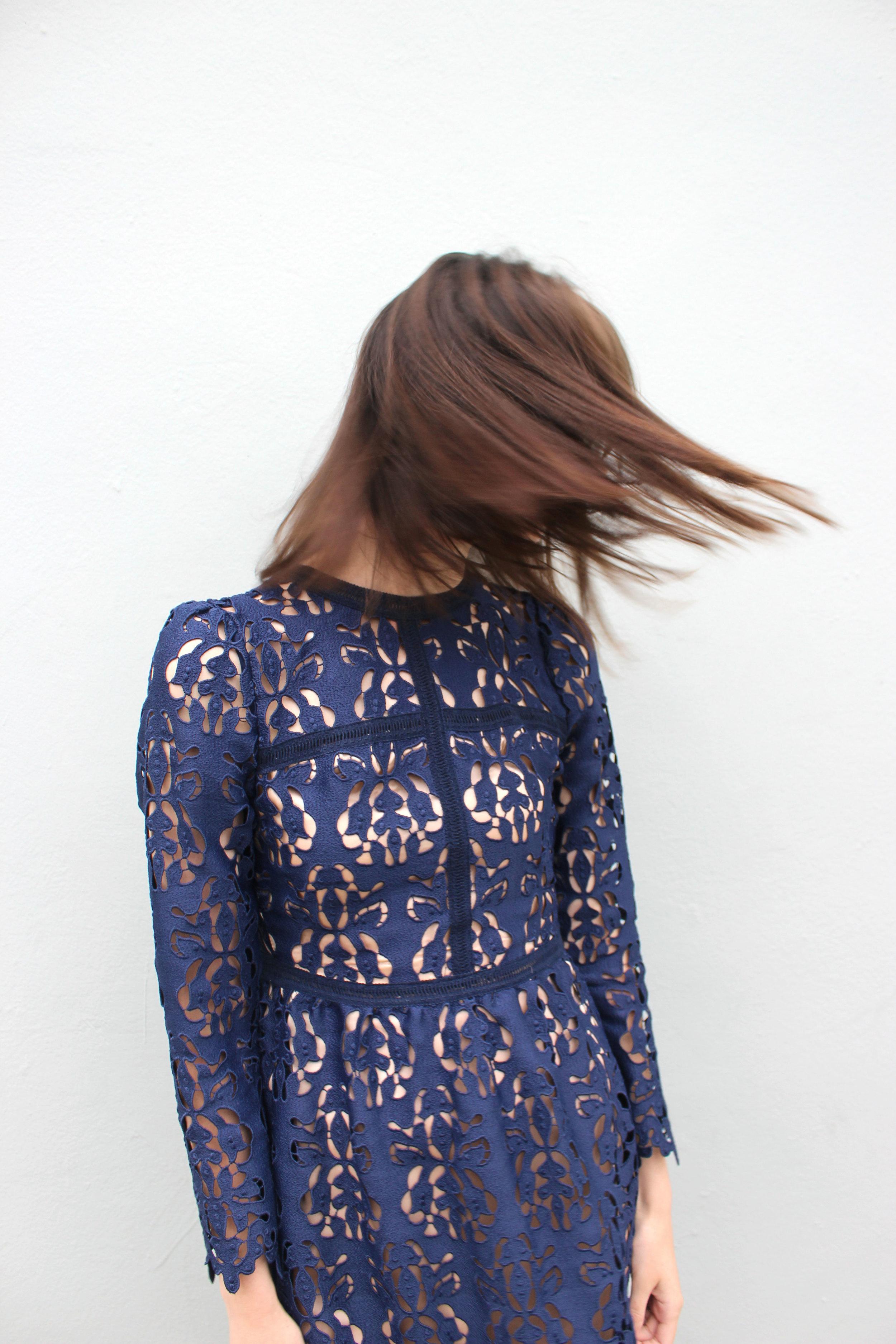 Blue Zara lace dress
