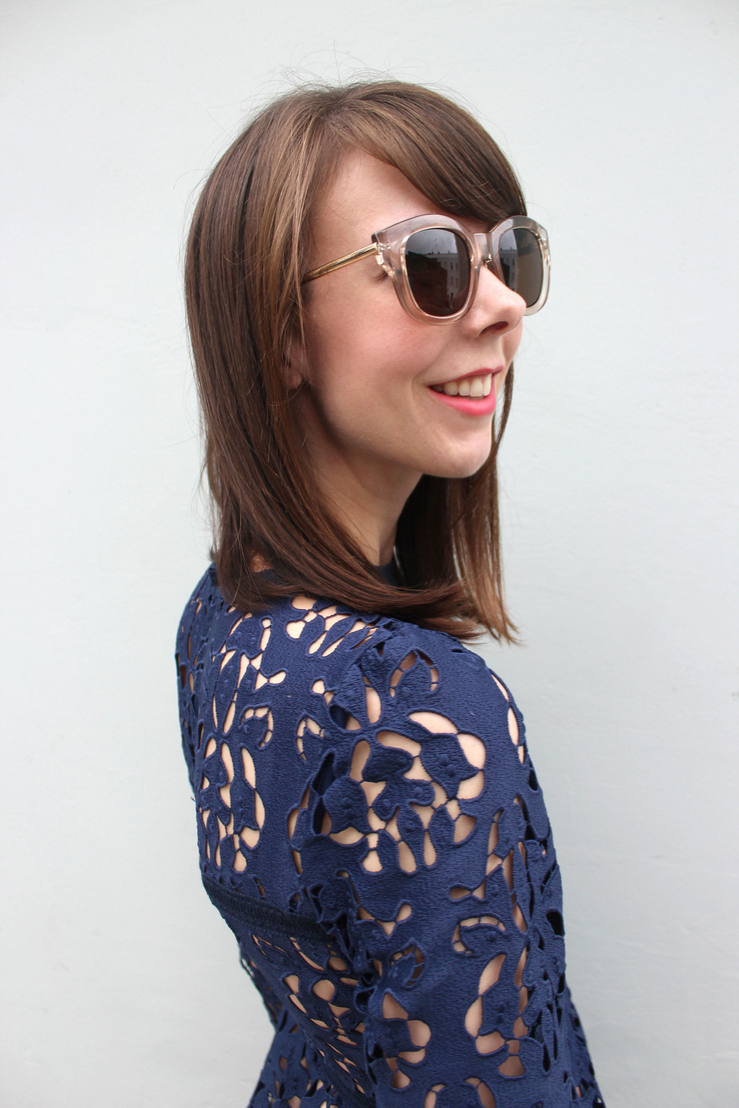 Zara lace dress, Le Specs sunglasses, Topshop lipstick