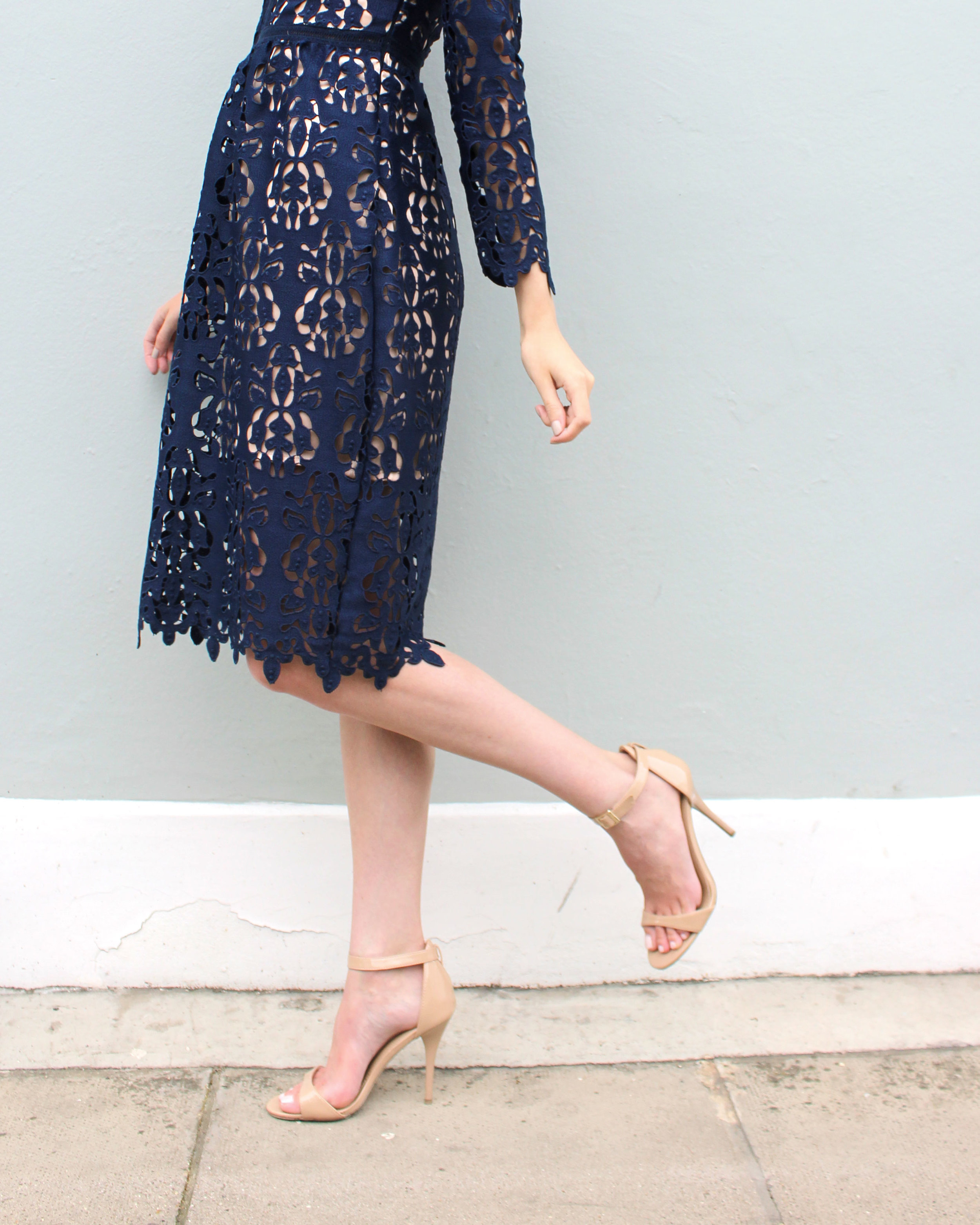 Target strappy sandals and a Zara lace dress.
