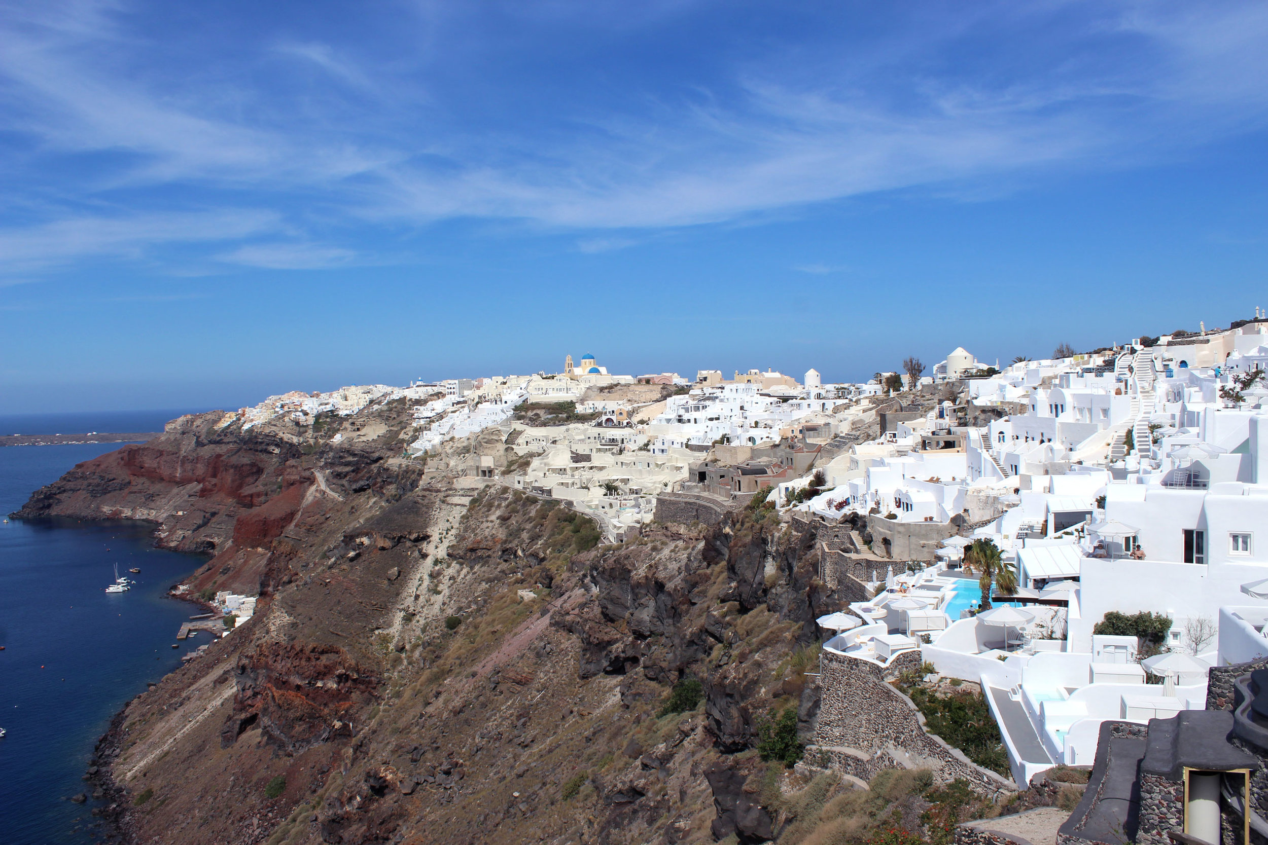 The view from our room at the Ikies Hotel in Santorini, Greece.