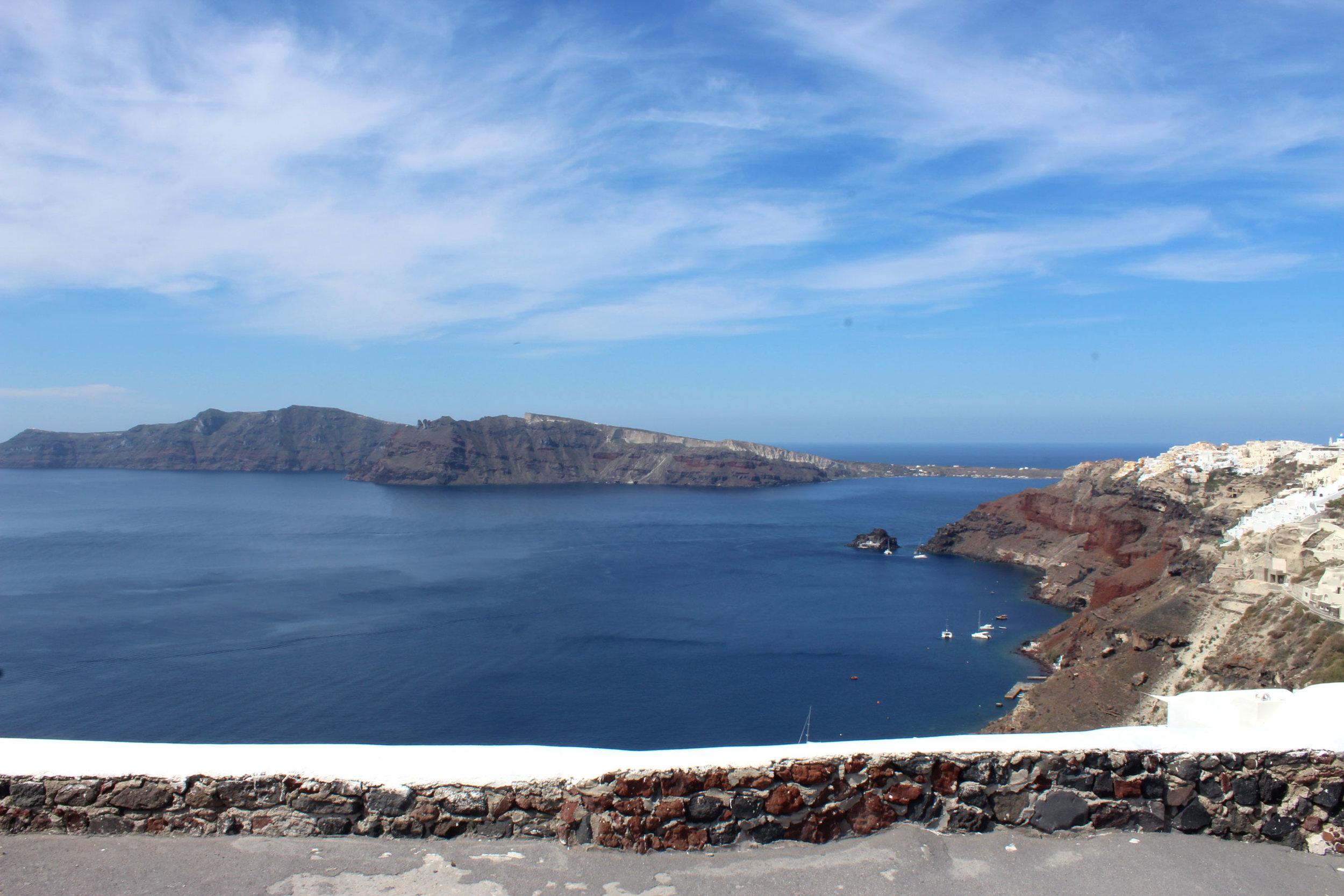 Deep blue waters and skies on the island of Santorini.