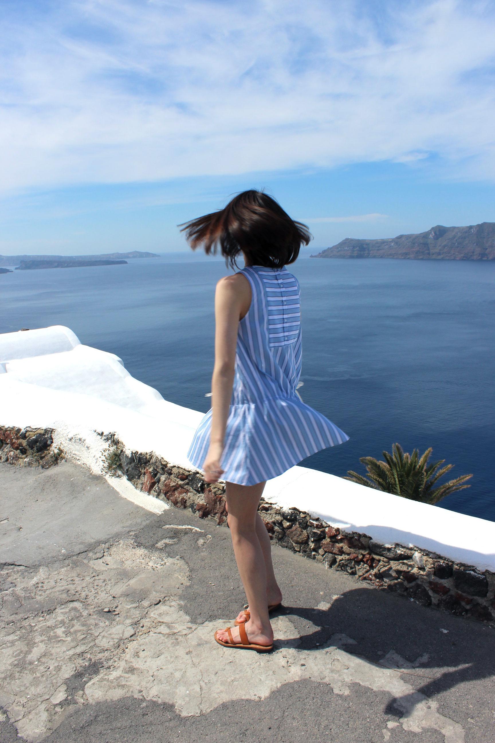 Spinning around in Oia, Santorini.