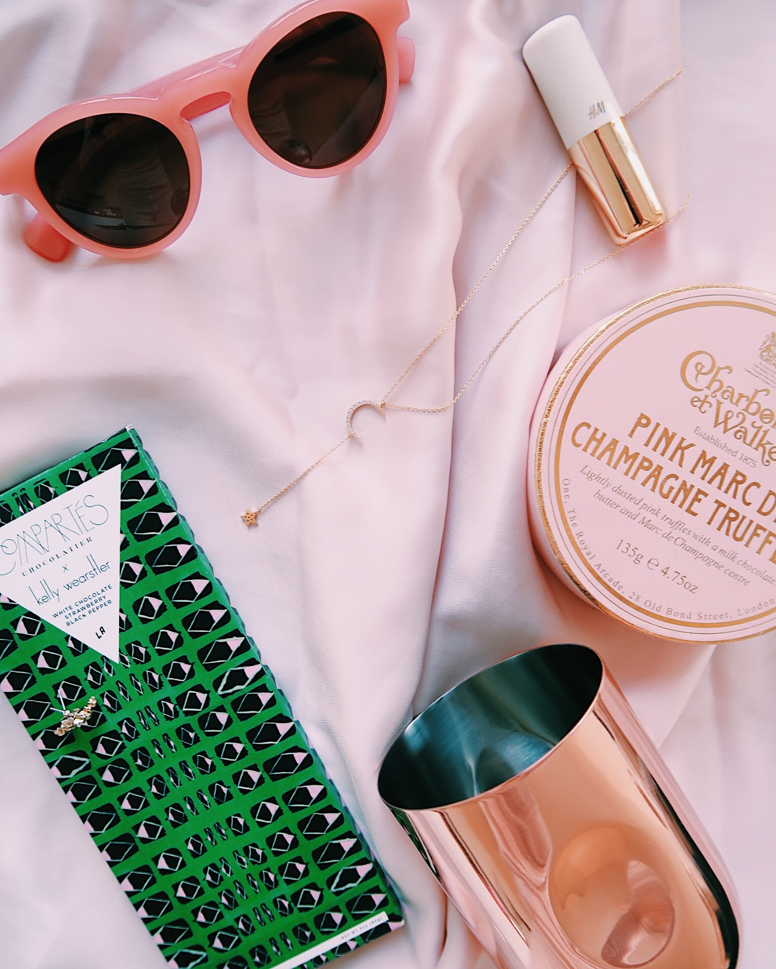 Latest obsessions: Tom Dixon barware, Compartés x Kelly Wearstler chocolate, Charbonnel et Walker truffles, J.Crew sunglasses, H&M beauty and celestial jewelry | Sundays and Somedays