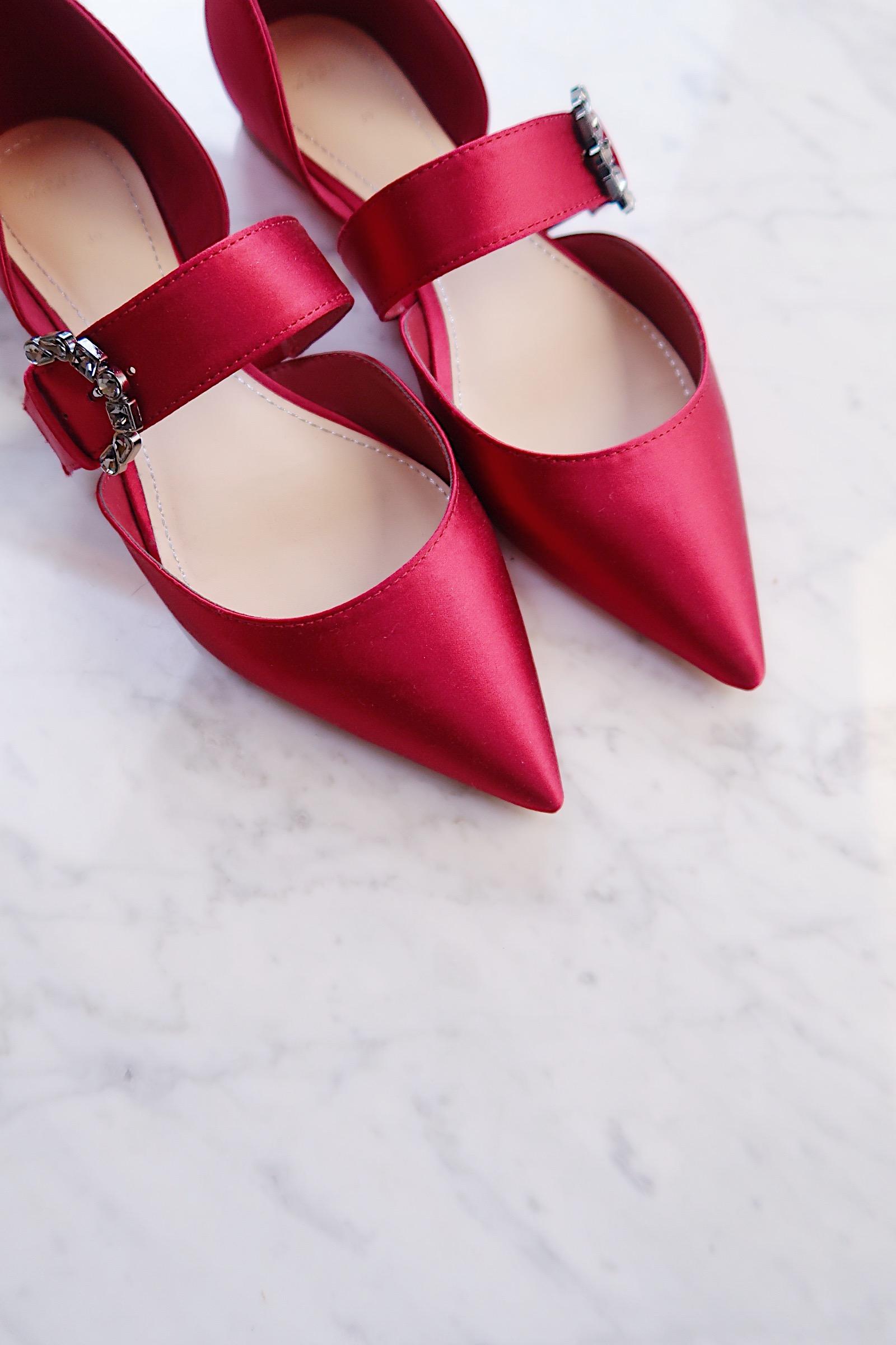 Zara burgundy ballerina flats with gem buckle | Favorite Fall Flats | Sundays and Somedays