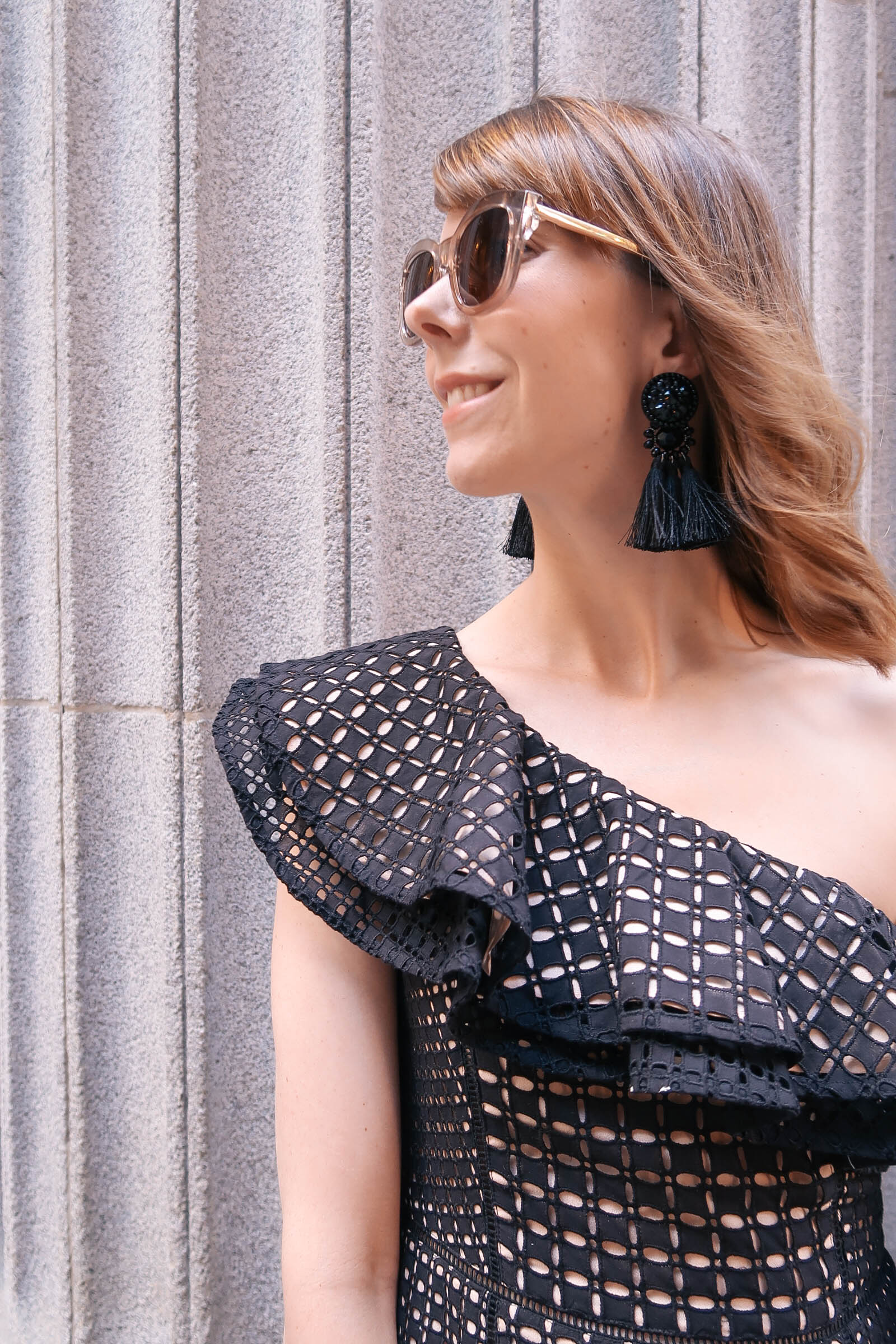 J.Crew one shoulder dress, Sam Edelman Heels, Topshop beaded earrings| A City Wedding in Chicago | Sundays and Somedays