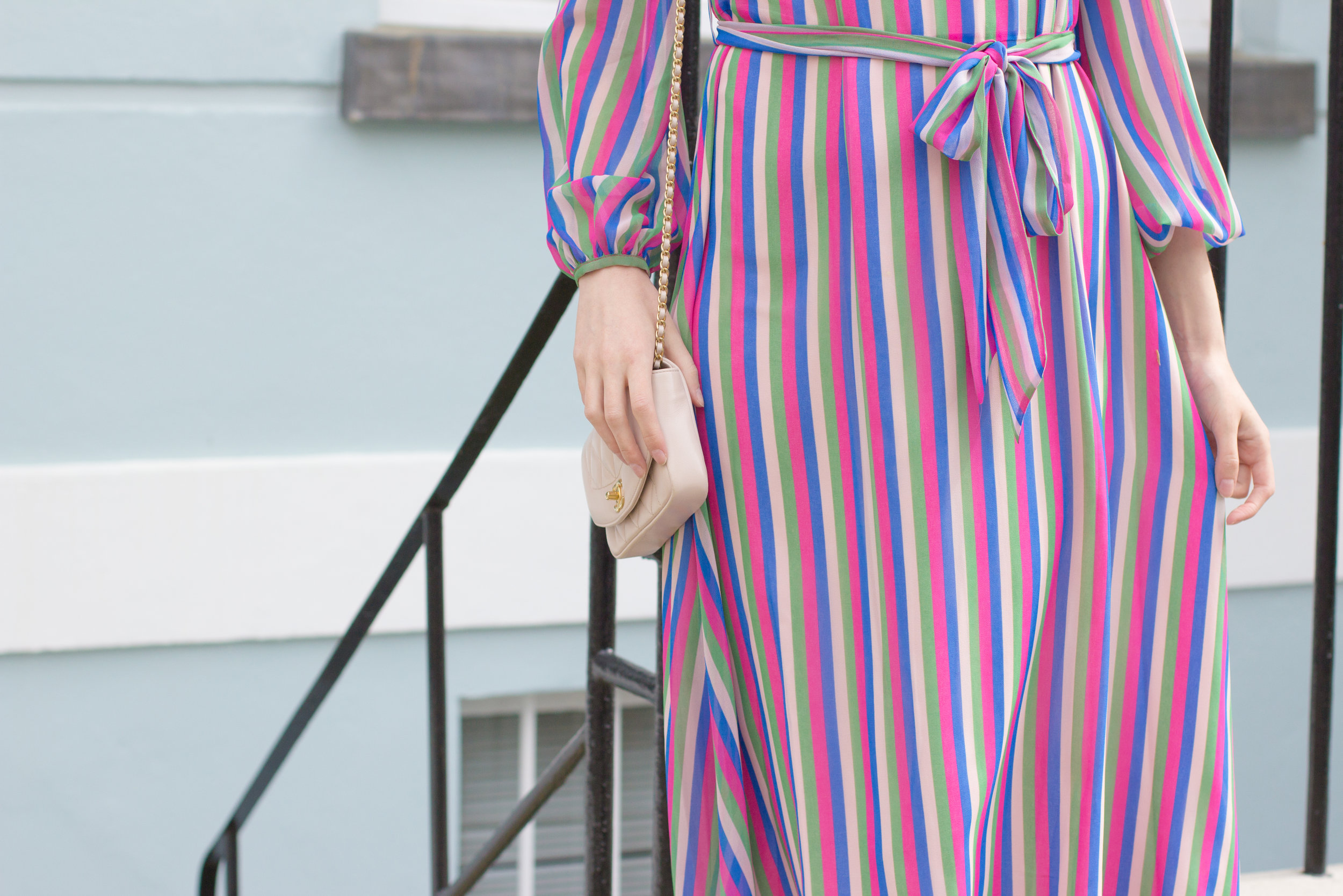 Exploring the colorful townhomes of Primrose Hill, London wearing a Boden occasionwear dress and blush pink Chanel bag