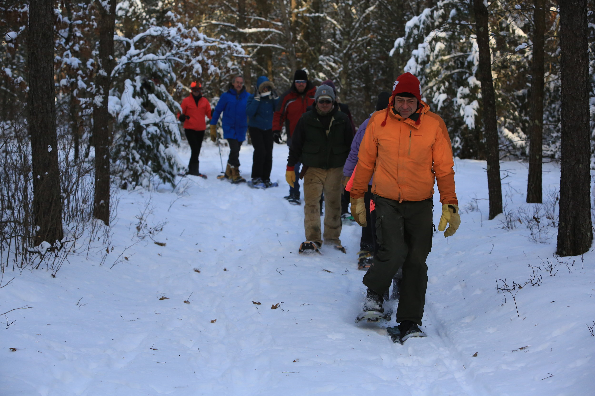 Snowshoeing at Wazee Lake Recreation Area as part of the Jackson in Action Family Snowshoe Event.