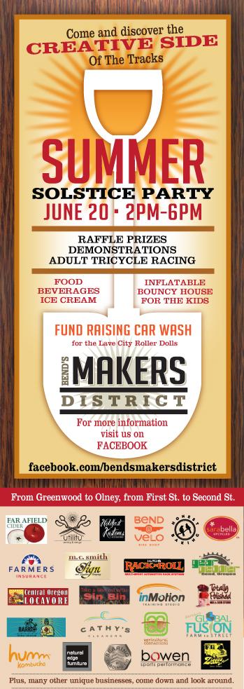 Bends Makers District Summer Solstice Event Flyer