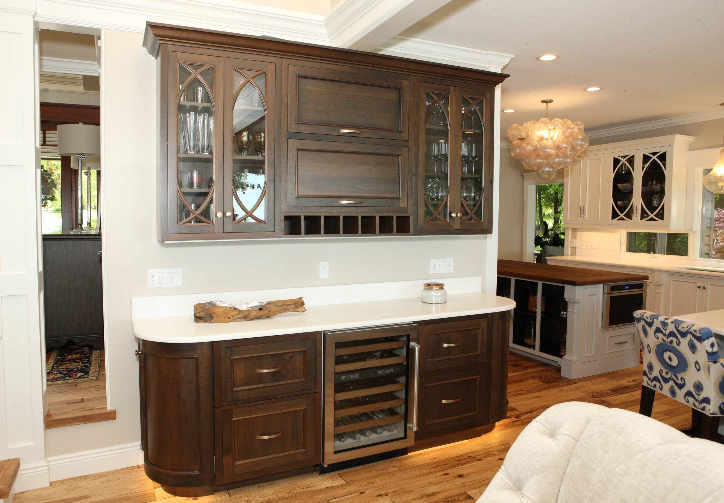 Rich walnut bar area with refrigerator drawers!