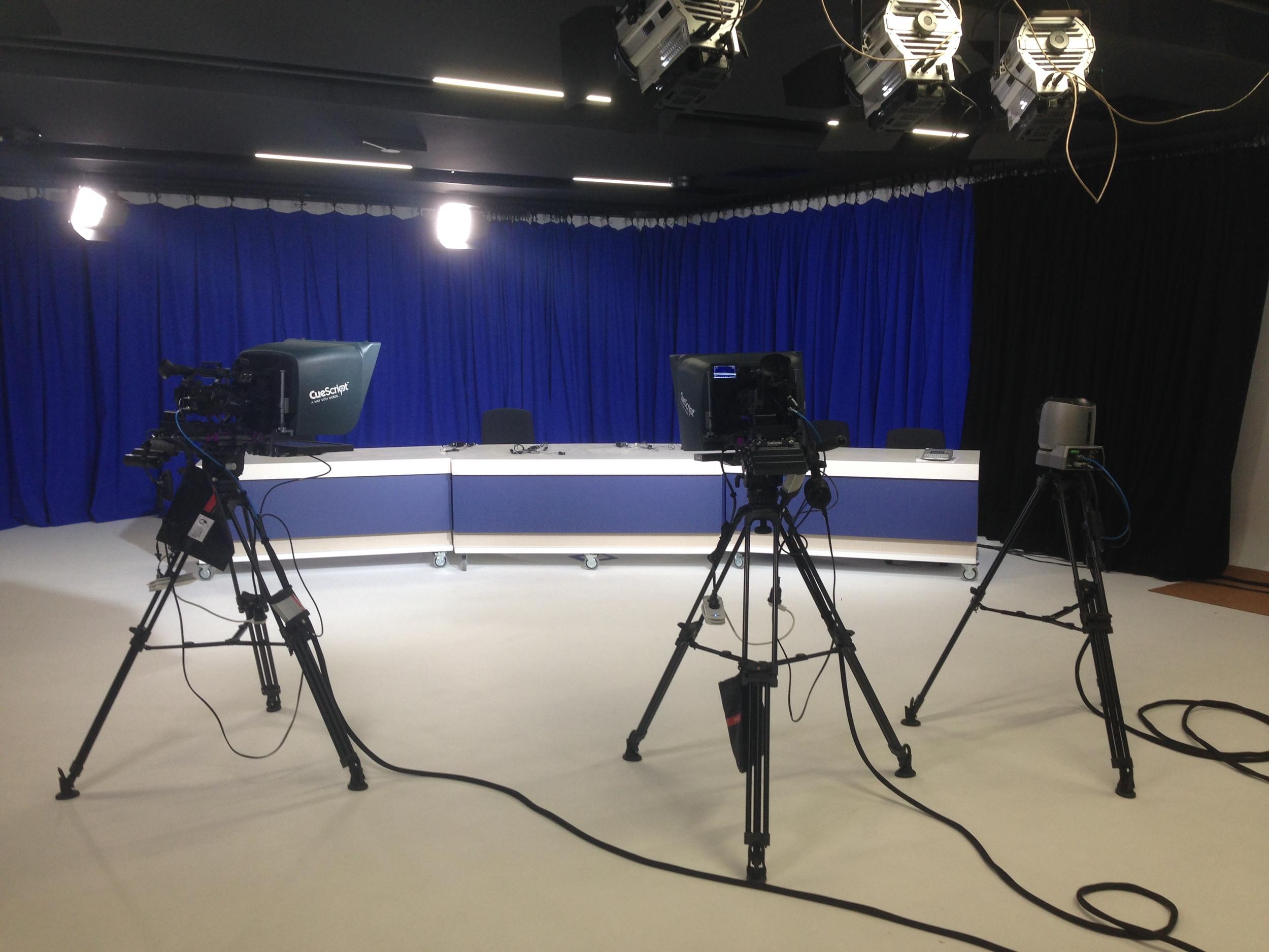 Cuescript prompters in the studio at monash university