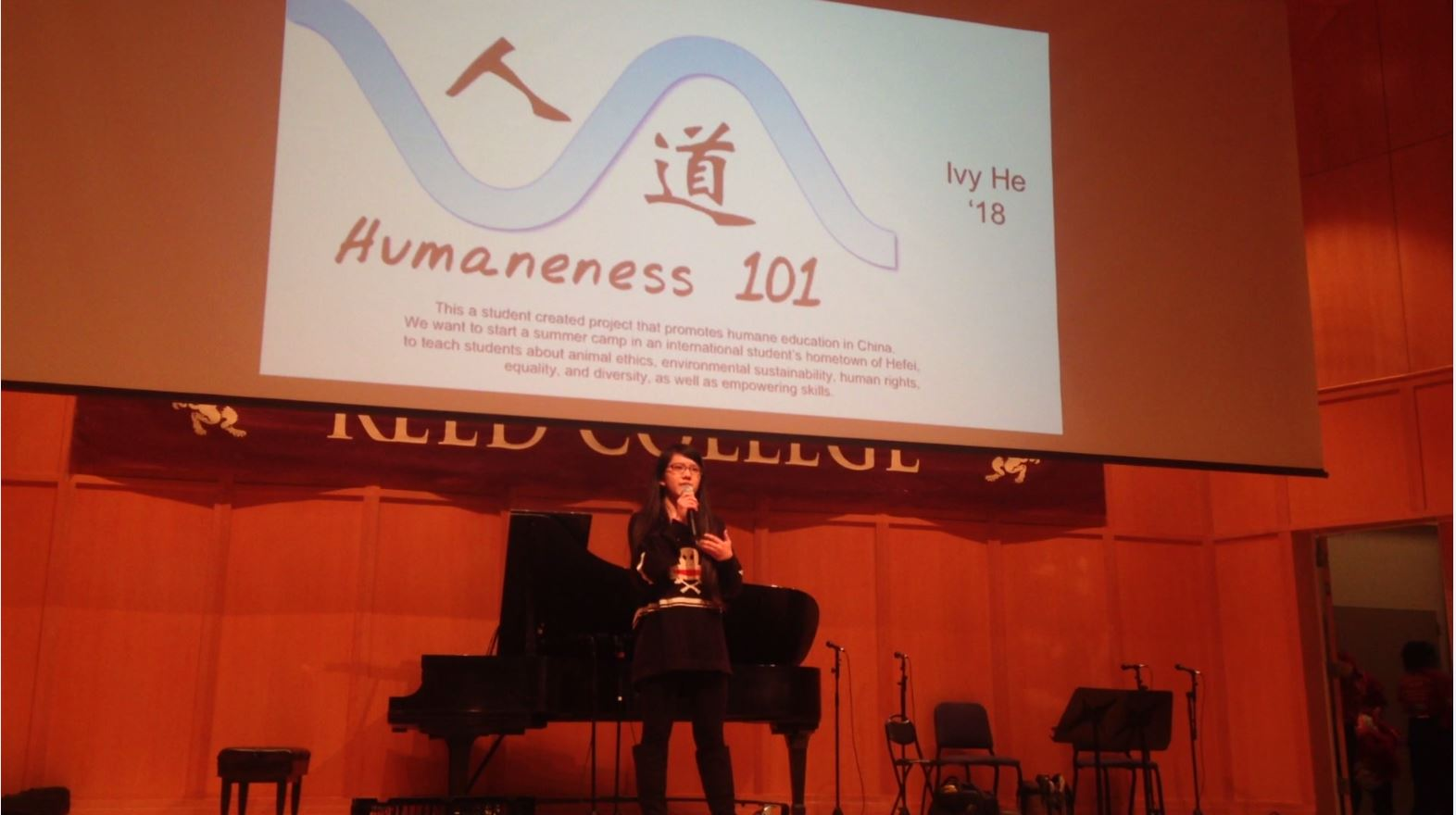 Ivy presenting Humaneness 101 at the Chinese New Year Festival at Reed College