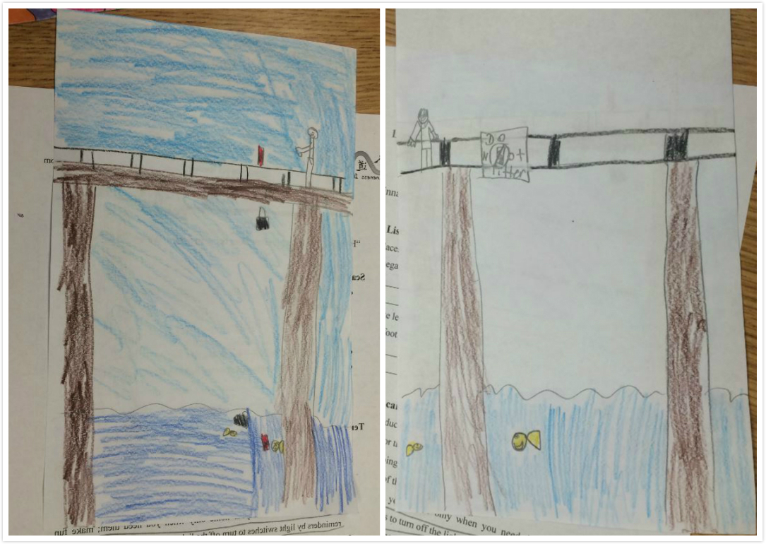 "This is a student's work. The drawing on the left reflects the problem of plastic pollution getting into water and harming fish. In the drawing on the right, the student puts a sign that says ""DO NOT LITTER"" near the river so that the water can be clean again!"