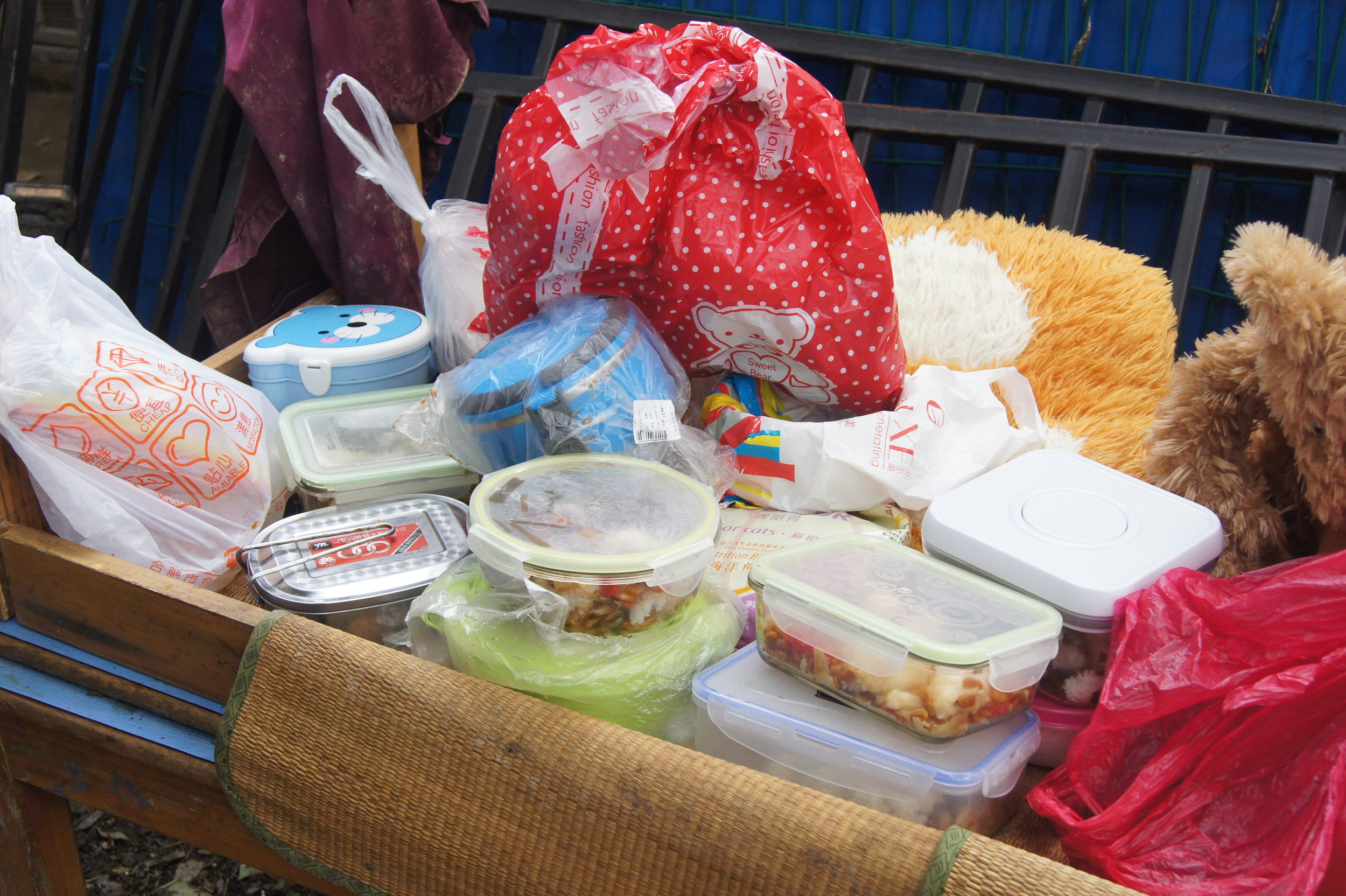 Student brought left-over food from the last meal and prepared gifts for donation