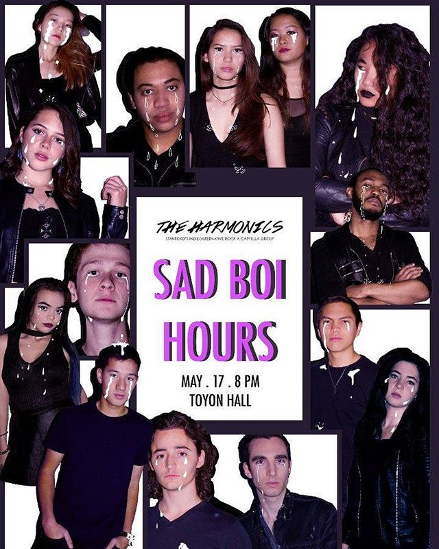 So hyped to announce our spring show of the year #sadboihours !! Hit up Toyon at 8pm THIS FRIDAY to mourn your midterms and love affairs with us! We can't wait to share our music with you. And it's free ;) Link to the event is in our bio! 🖤🖤🖤 #acappella #indierock #stanfordharmonics #altrock #stanford  Poster design credits to @suahcho_23 and photos to @theanniedare