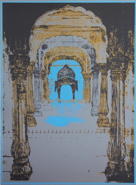 Maala  Hand drawn screenprint Indian Lapis Blue Size: 56cm x 77cm